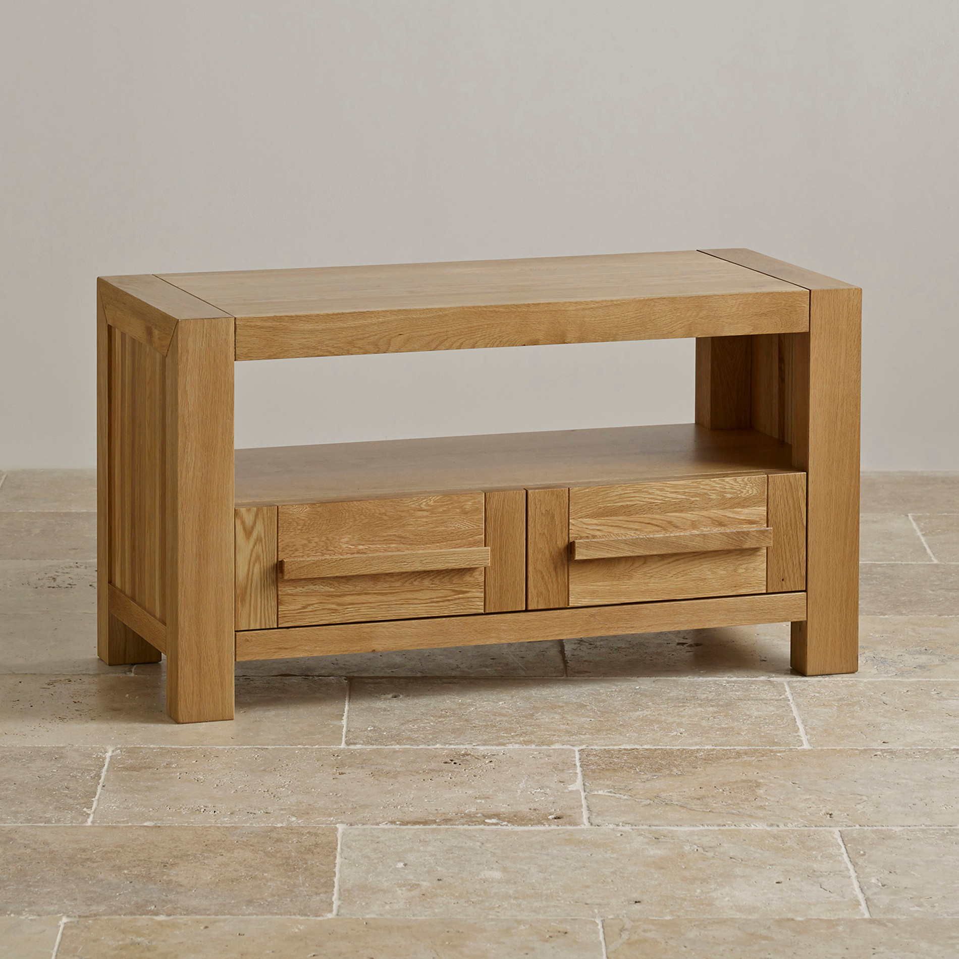 Fresco 2 Drawer TV Cabinet in Solid Oak : Oak Furniture Land