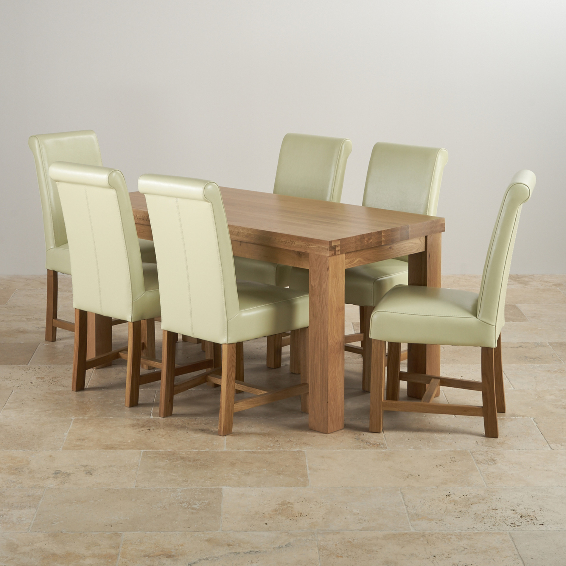 Fresco 5ft solid oak dining table 6 cream leather chairs for 5 chair dining table