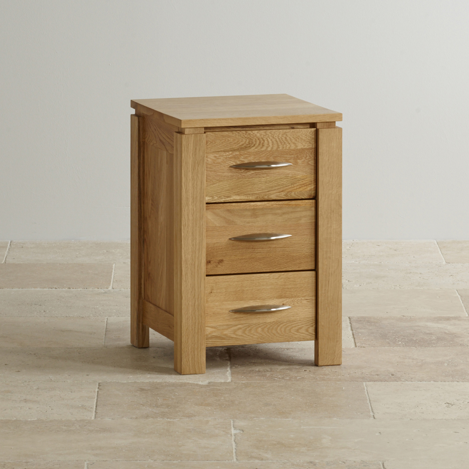 Galway 3 Drawer Bedside Table In Natural Solid Oak