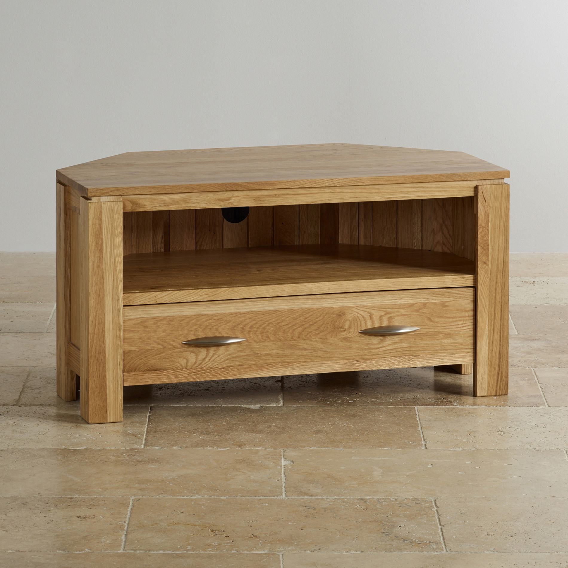 Tv cabinets units 100 solid oak oak furniture land galway natural solid oak corner tv cabinet geotapseo Gallery