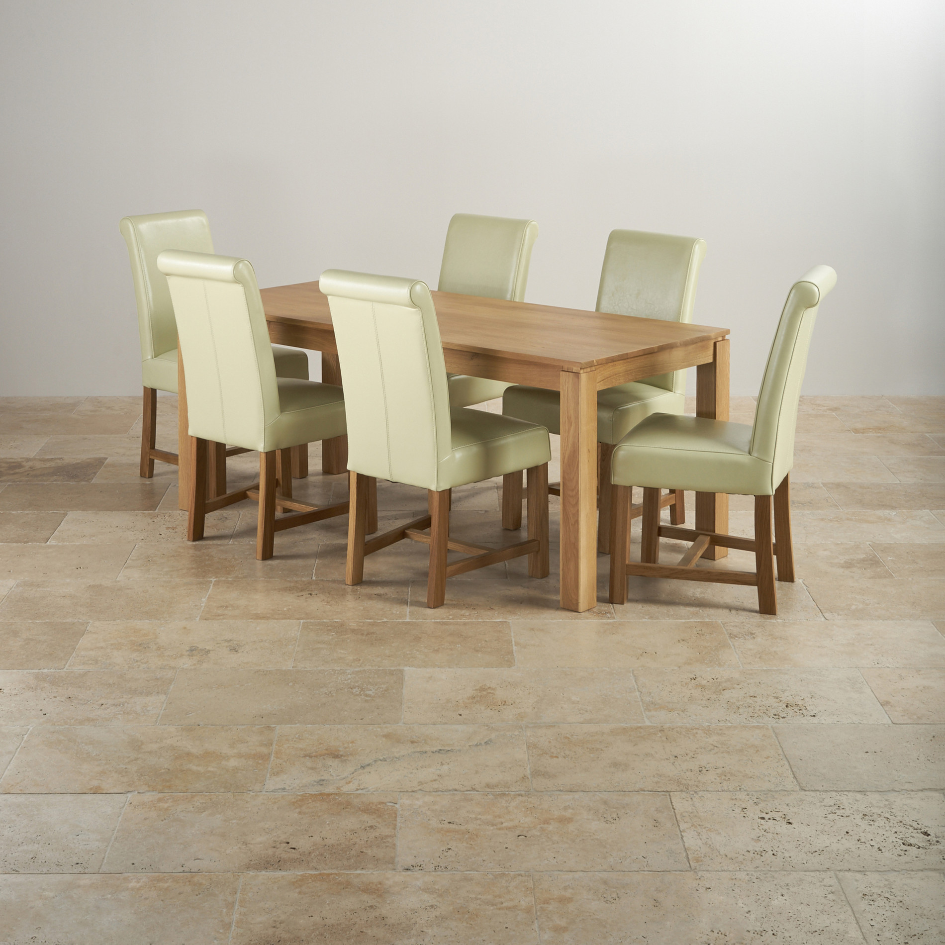 Galway Dining Set In Natural Oak 6ft Table 6 Leather