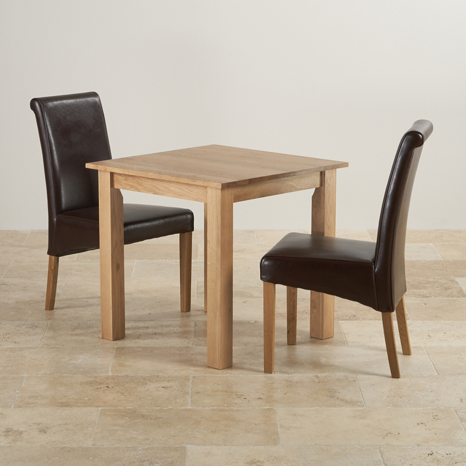 Hudson dining set in natural oak table 2 leather chairs for Dining chairs and tables