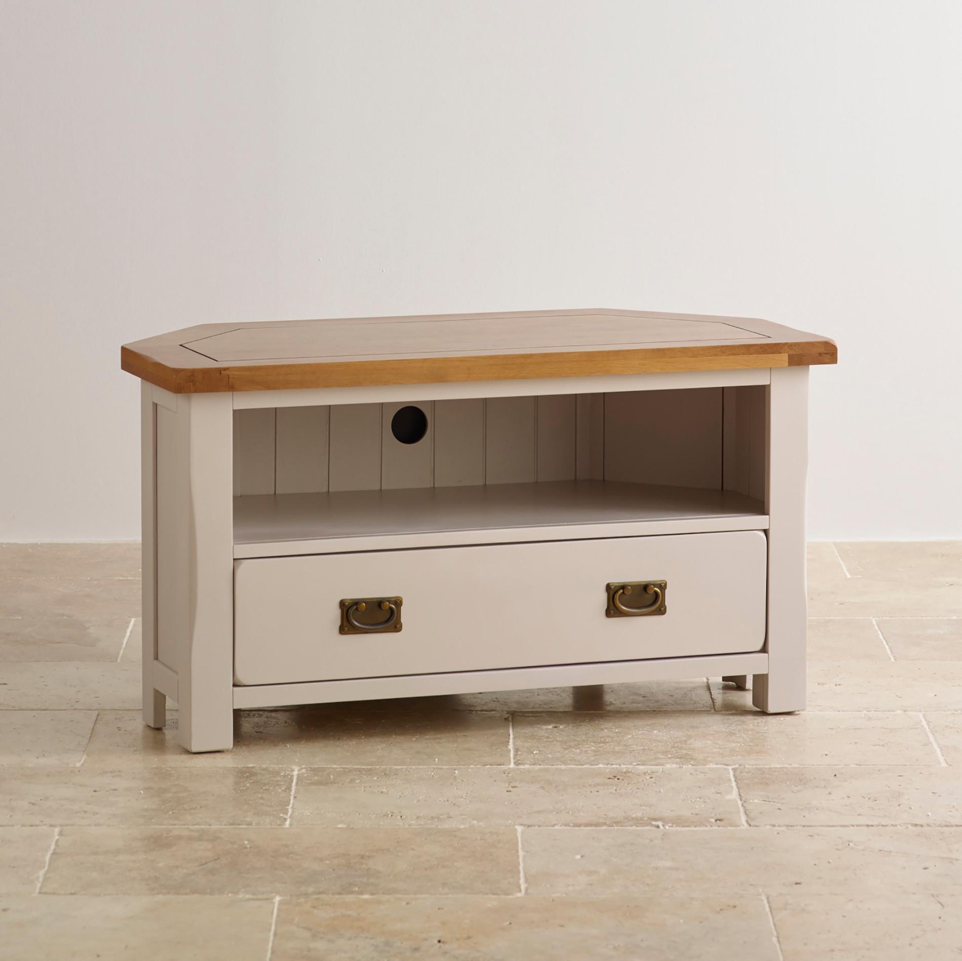 painted corner tv cabinet in rustic oak oak furniture land. Black Bedroom Furniture Sets. Home Design Ideas