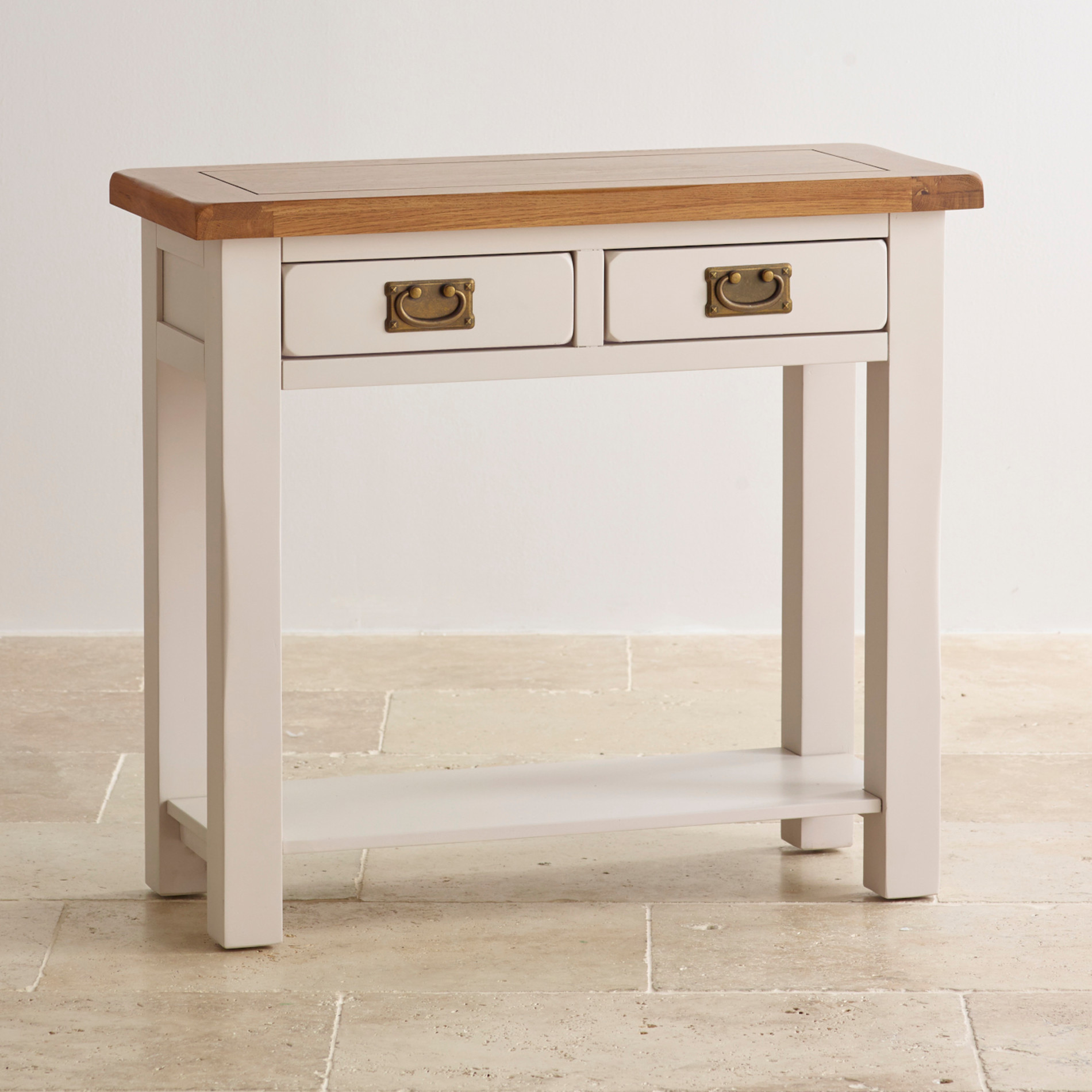 Kemble painted drawer console table in rustic solid oak