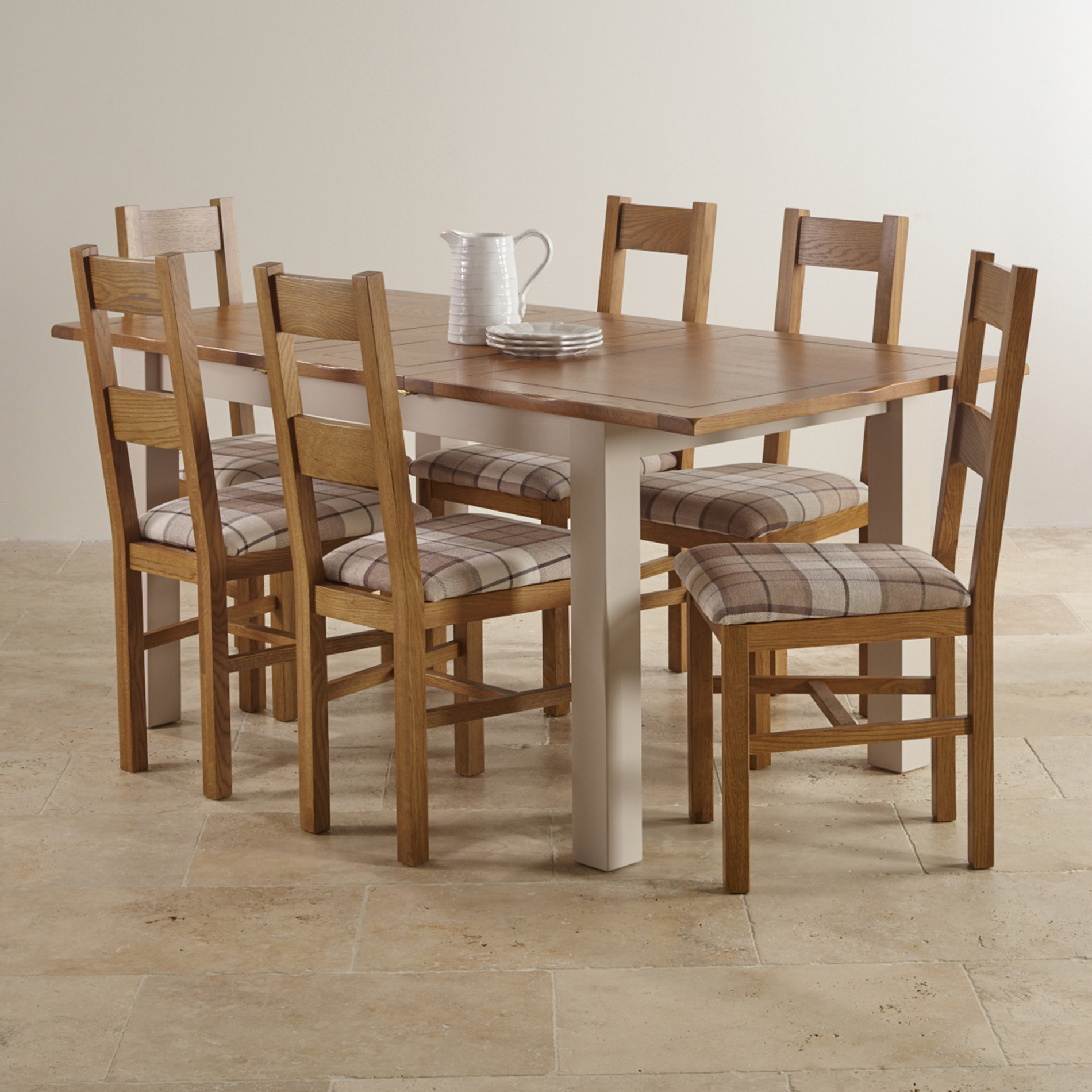 Kemble extending dining set in painted oak table 6 chairs for Dining table set for 6