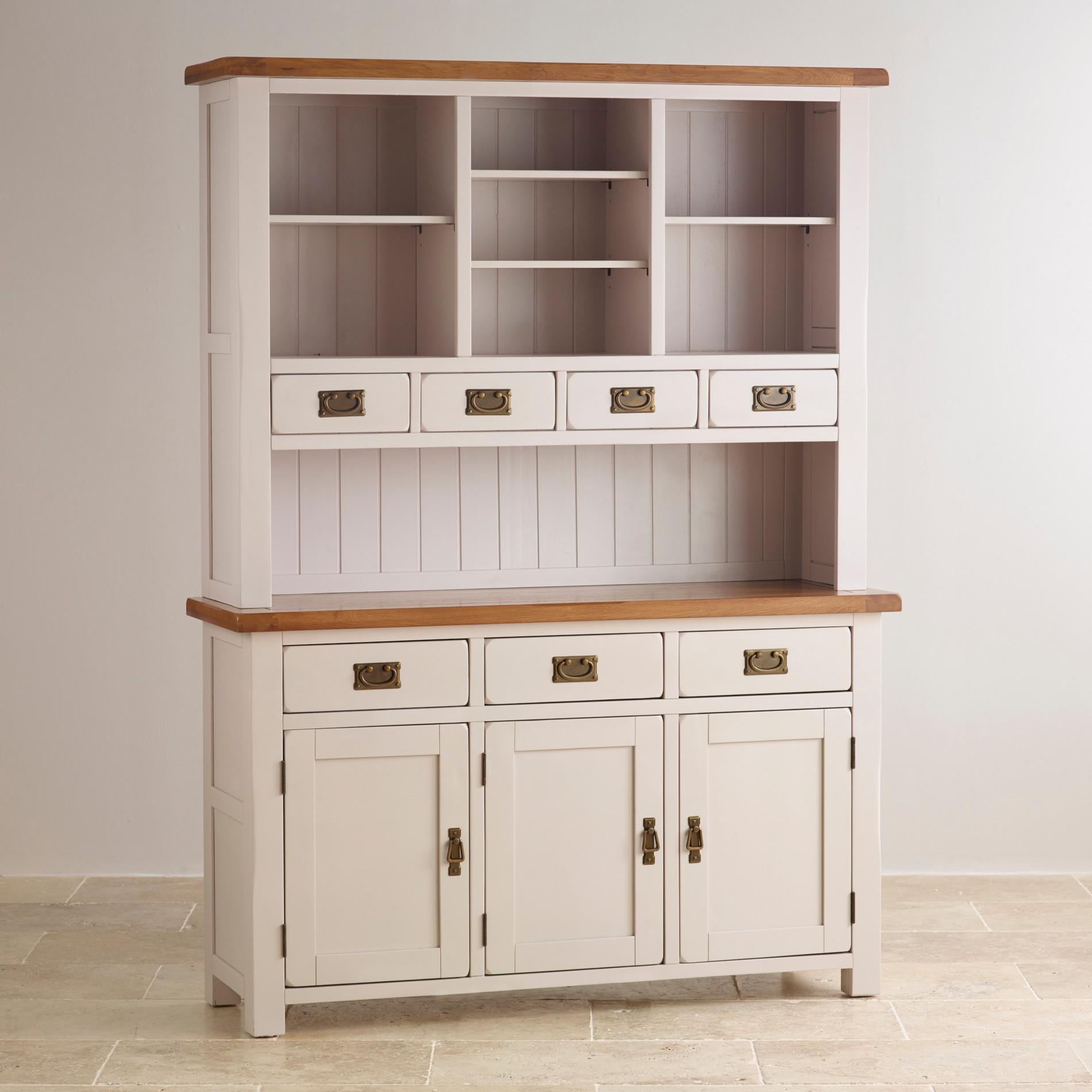Vaisselier En Chene: Kemble Painted Large Dresser In Rustic Solid Oak