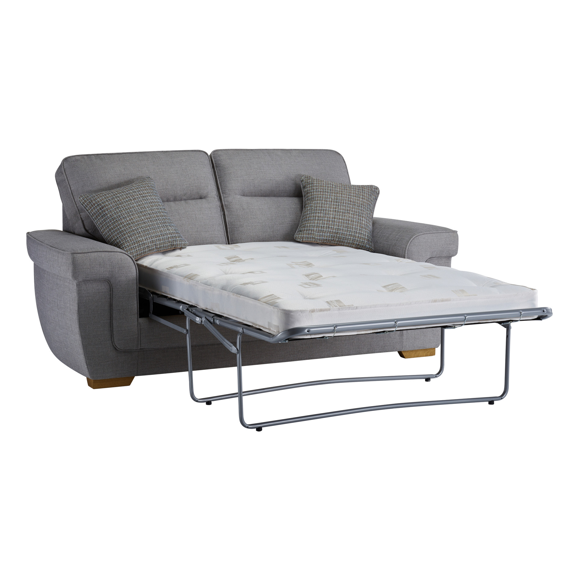 Kirby 2 Seater Sofa Bed with Deluxe Mattress Barley Silver