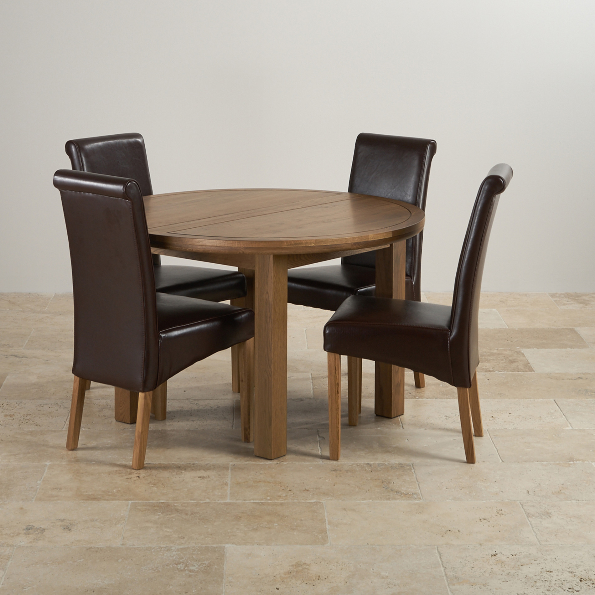 Round Breakfast Table Set: Knightsbridge Round Extending Dining Set: Dining Table + 4