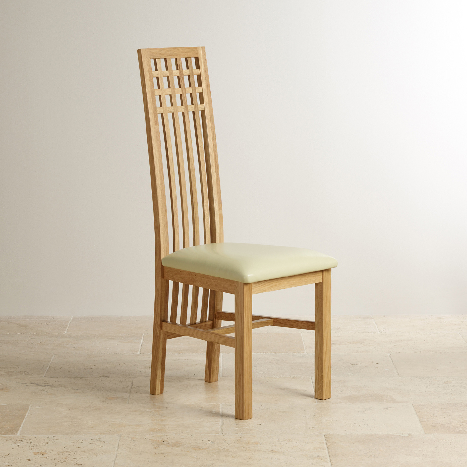Oak Dining Chair: Lattice Back Natural Solid Oak Dining Chair