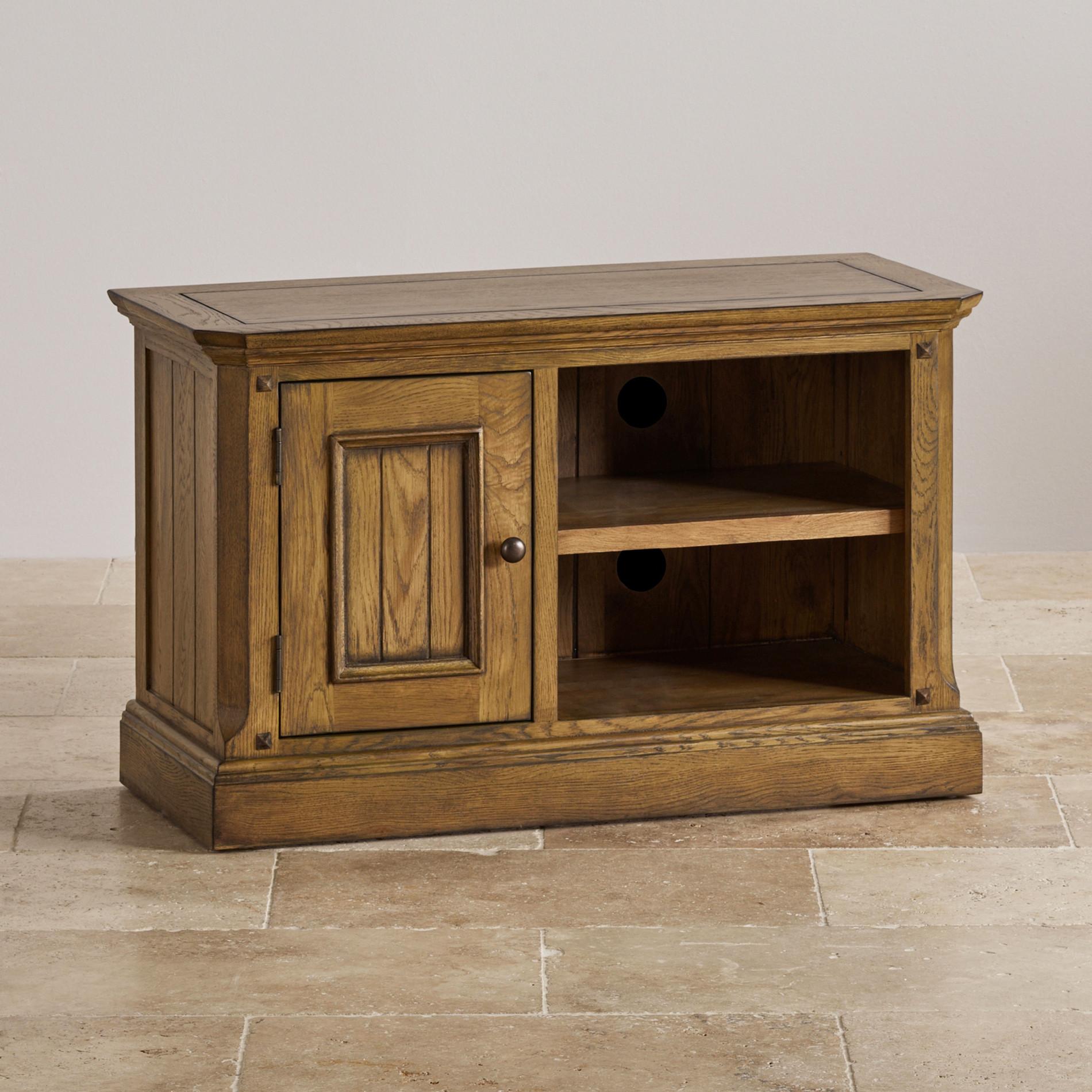 Manor House Small TV Unit in Solid Oak Oak Furniture Land