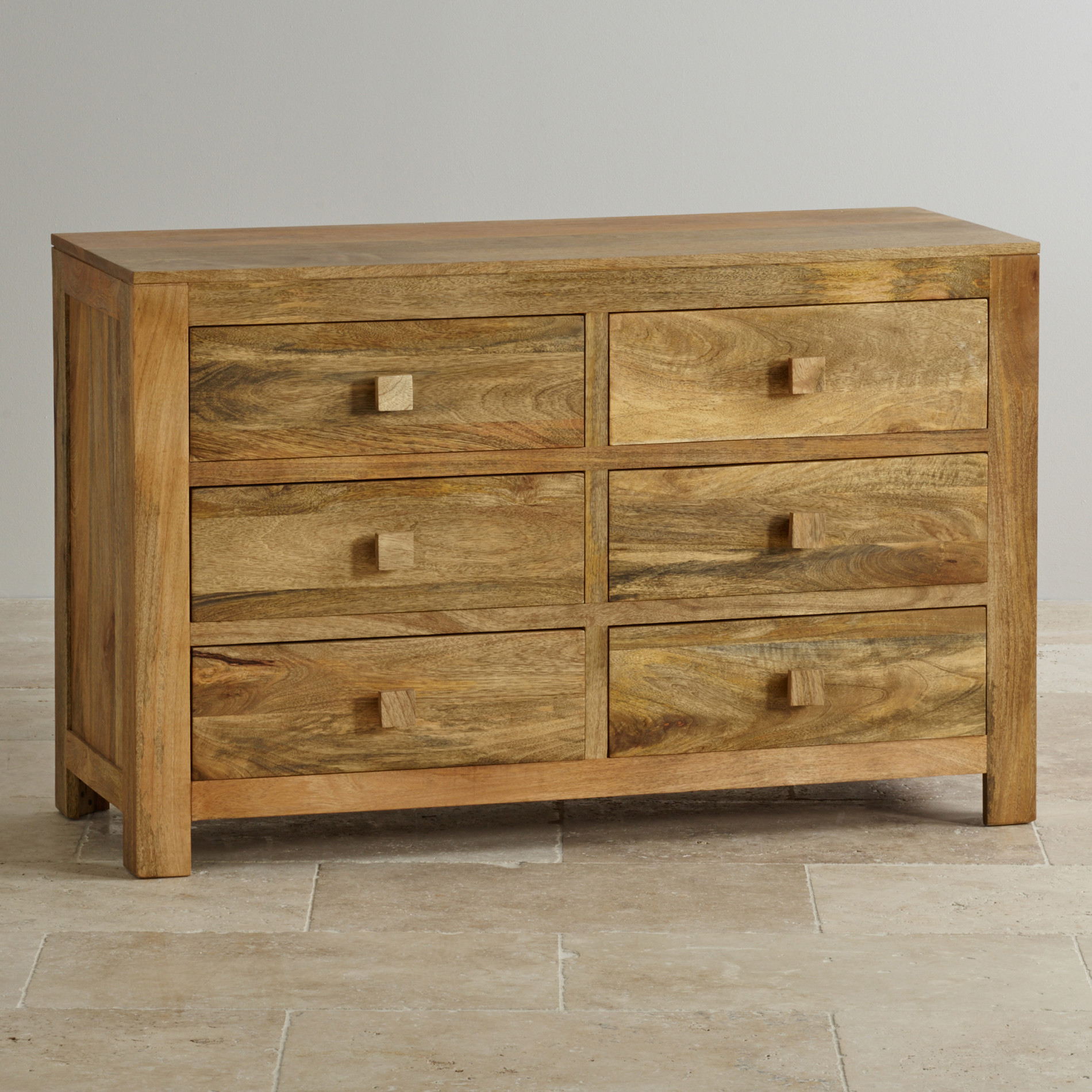 Mantis Light 6 Drawer Chest In Solid Mango Oak Furniture Land