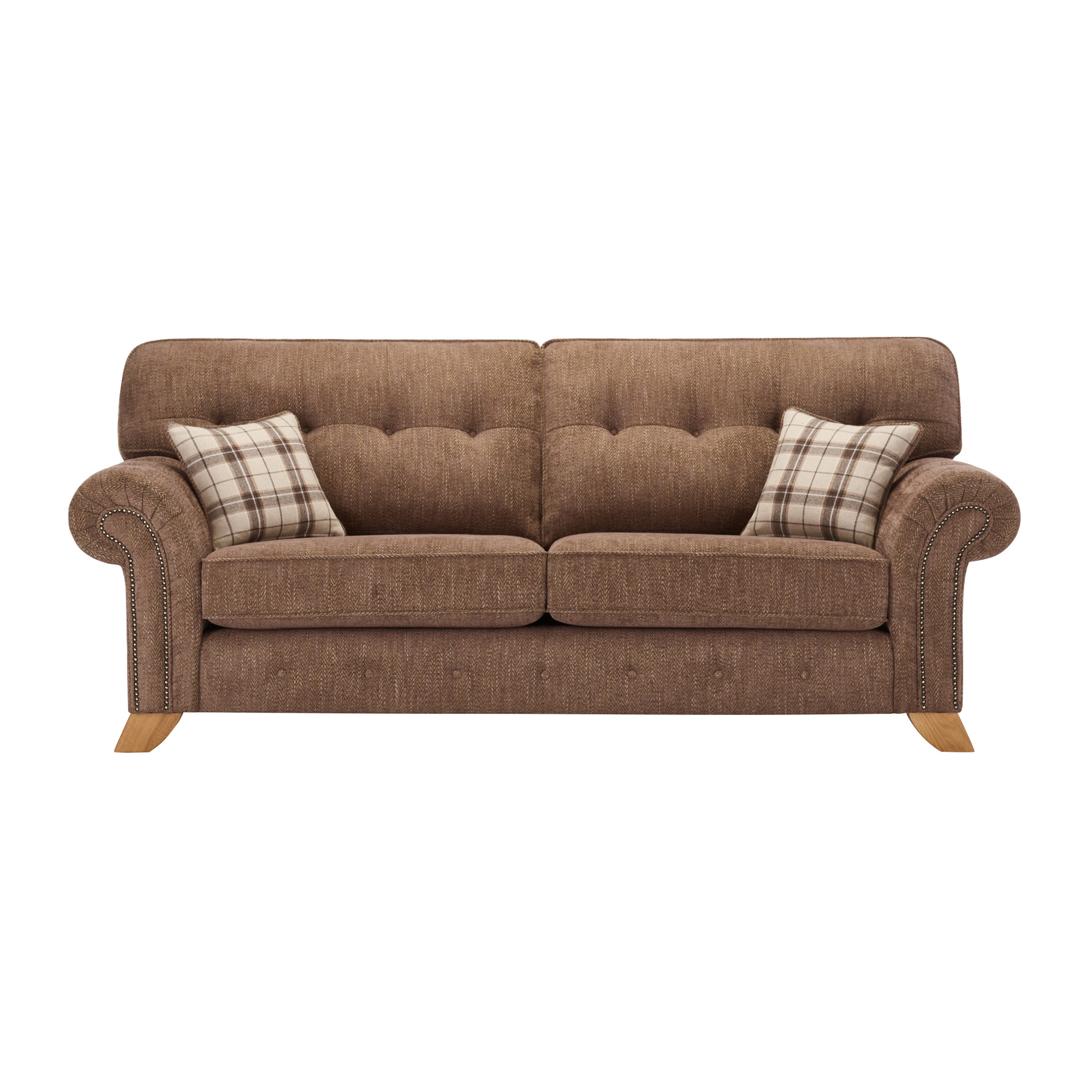 Montana 3 Seater High Back Sofa in Brown Tartan Cushions