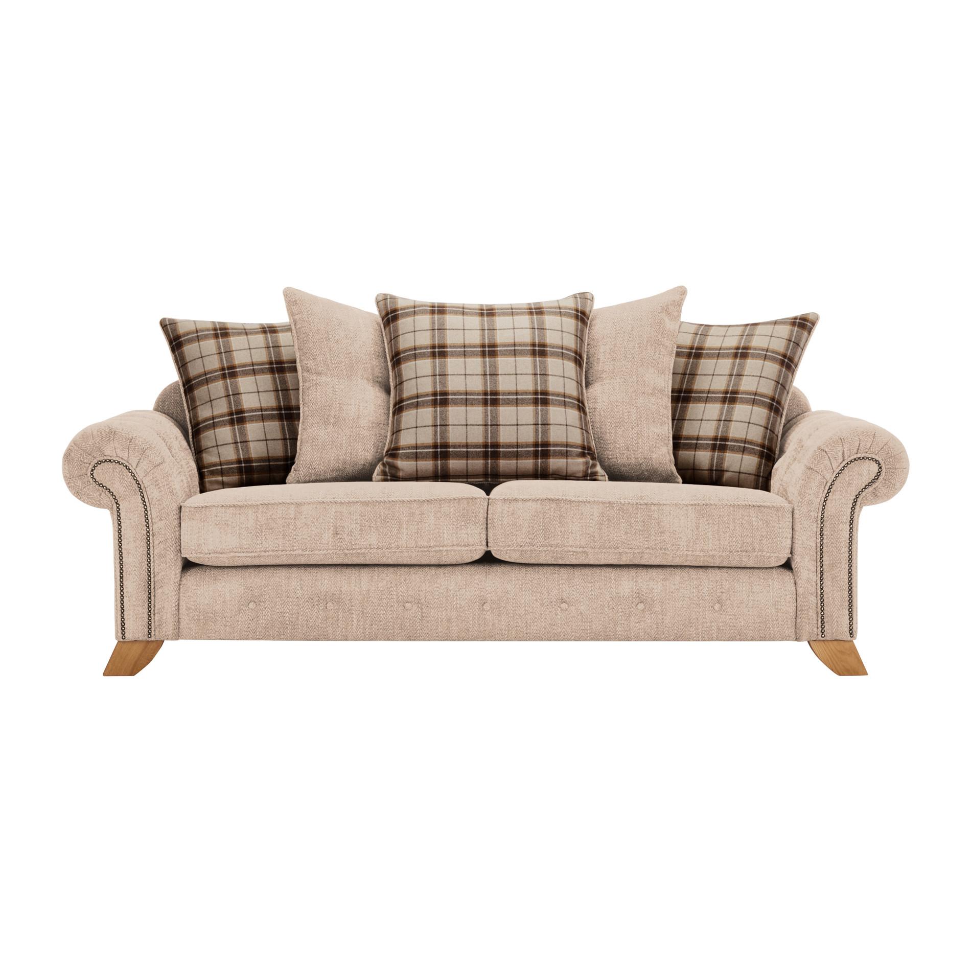 Montana 3 Seater Pillow Back Sofa in Beige Tartan Cushions