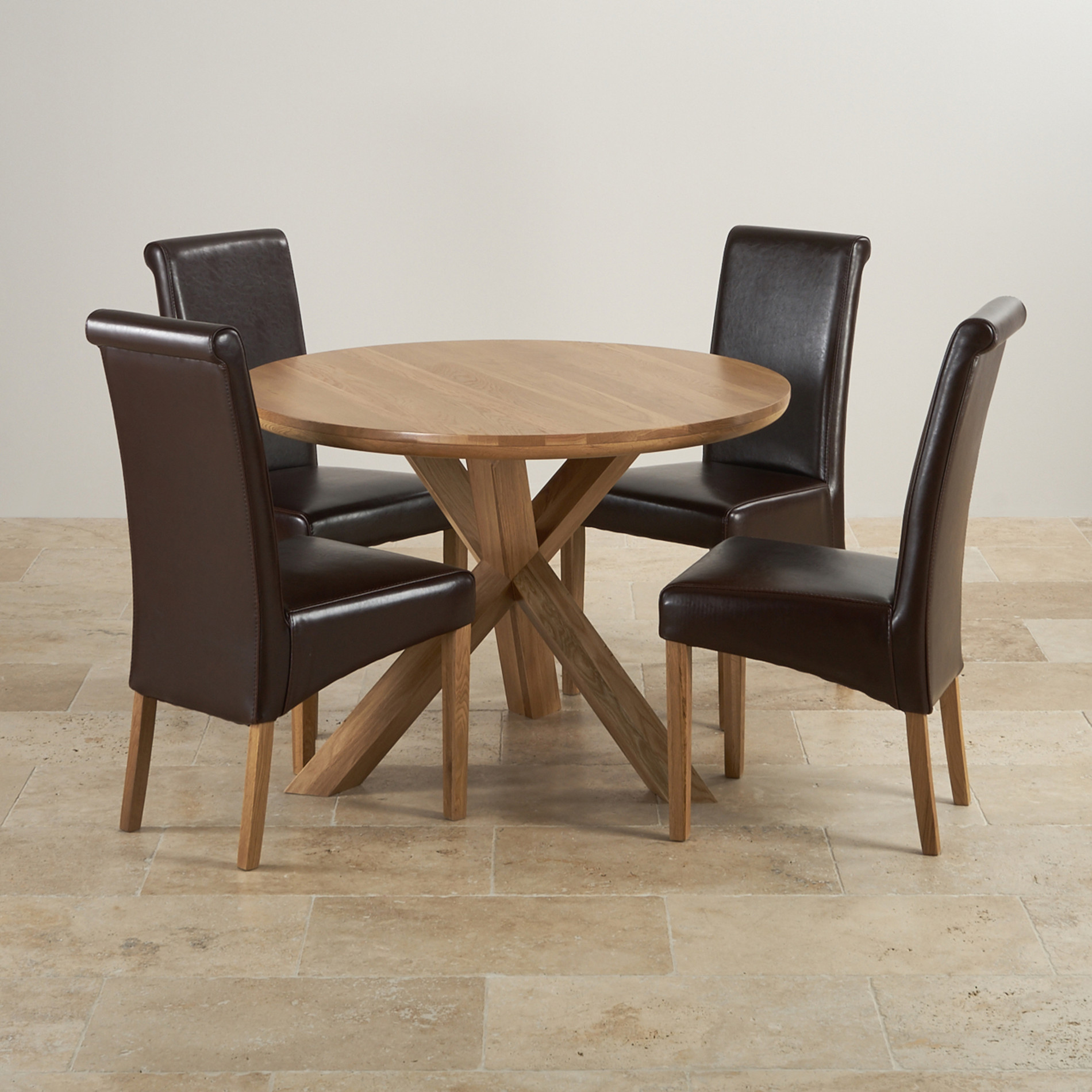 Leather Dining Set: Natural Real Oak Dining Set: Round Table + 4 Brown Leather