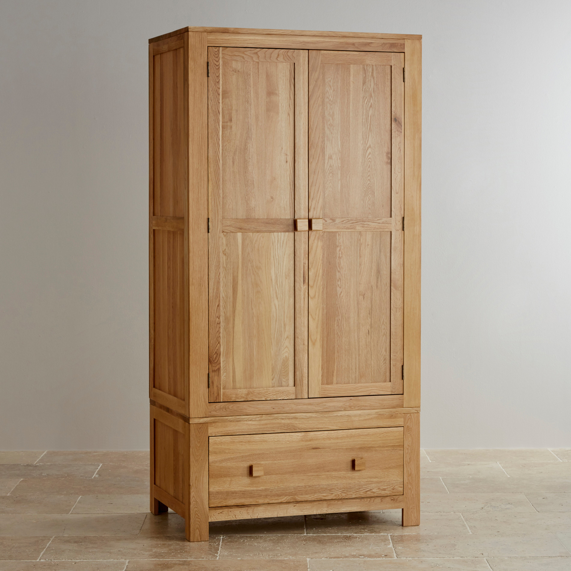 oakdale natural solid oak double wardrobe bedroom furniture. Black Bedroom Furniture Sets. Home Design Ideas