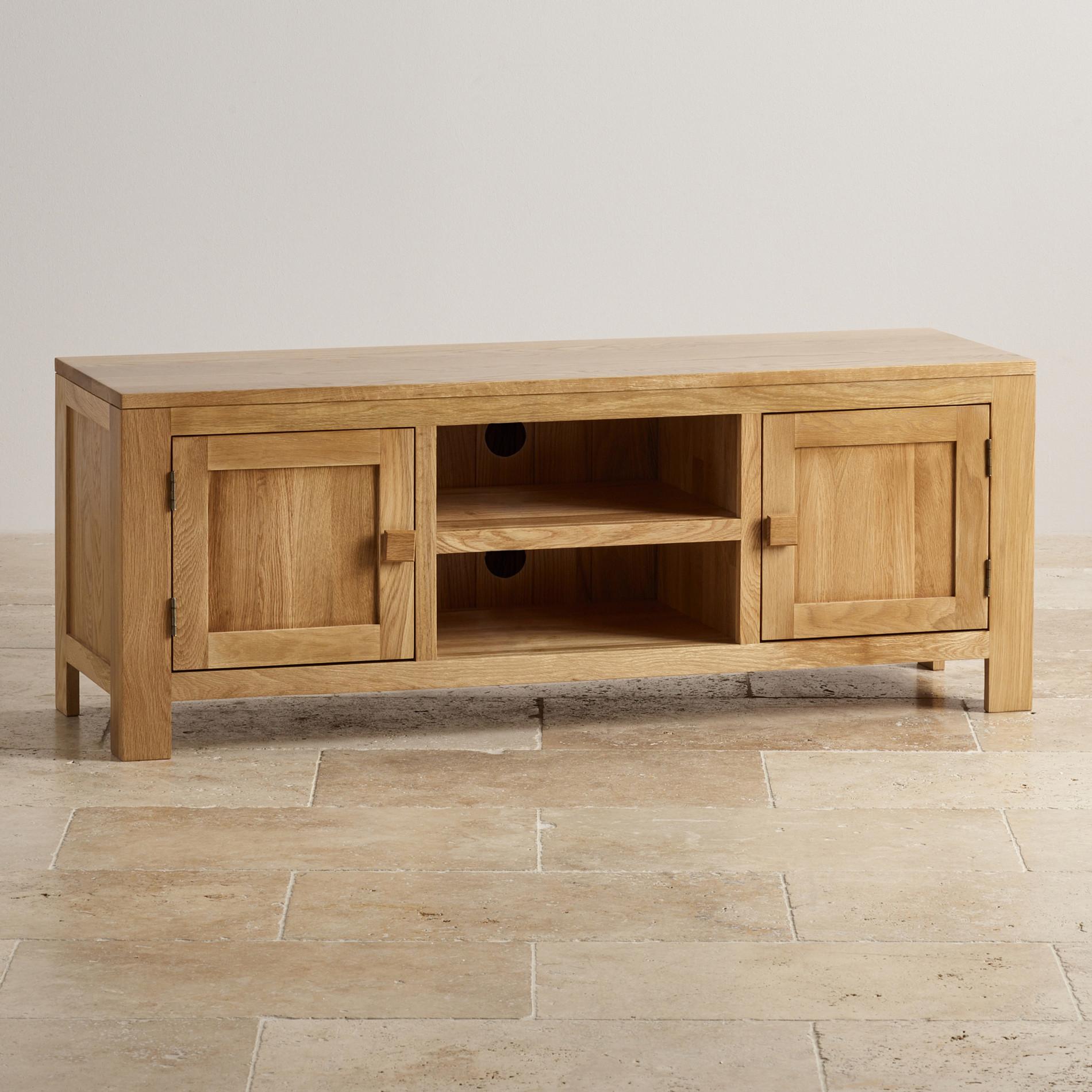 Oakdale Large TV Unit in Natural Solid Oak   Oak Furniture Land