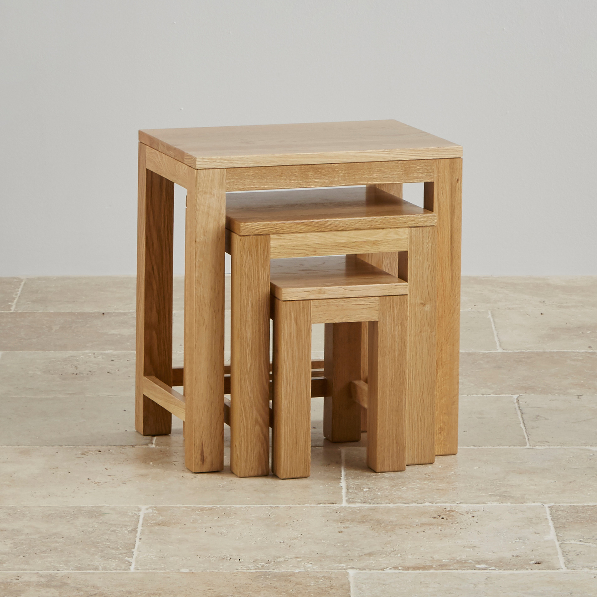 Oakdale nest of tables in natural solid oak oak for Small nest of tables