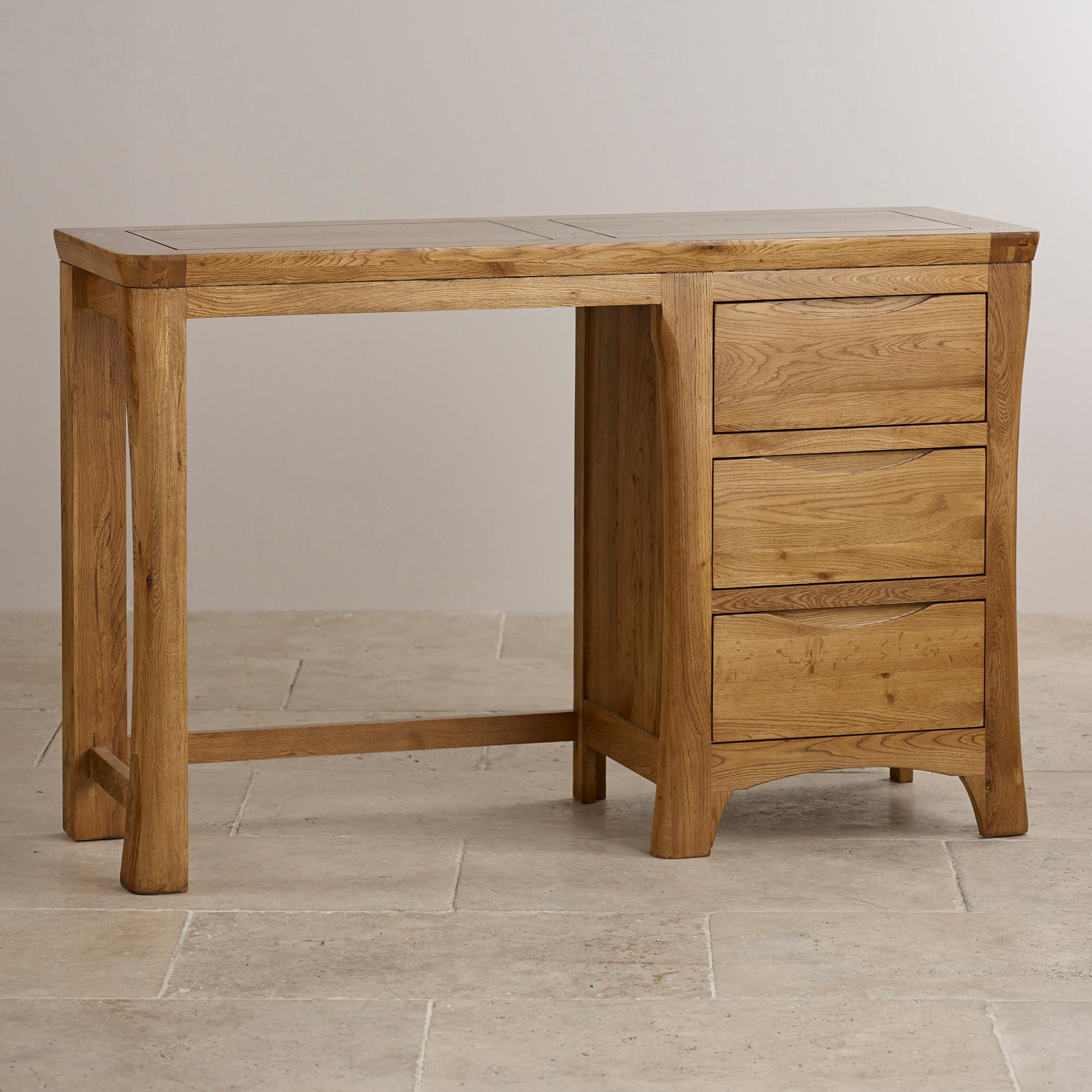 Orrick Dressing Table In Rustic Solid Oak Oak Furniture Land - Rustic oak dressing table