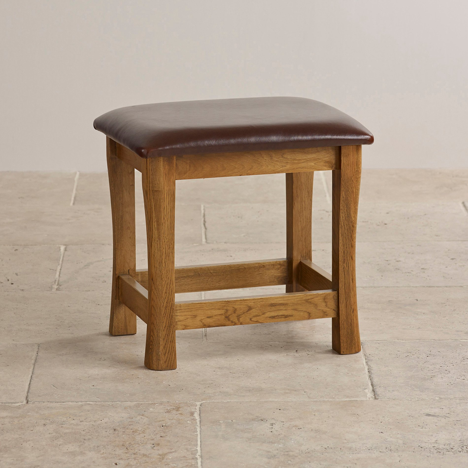 Express Delivery Orrick Rustic Solid Oak And Leather Dressing Table Stool