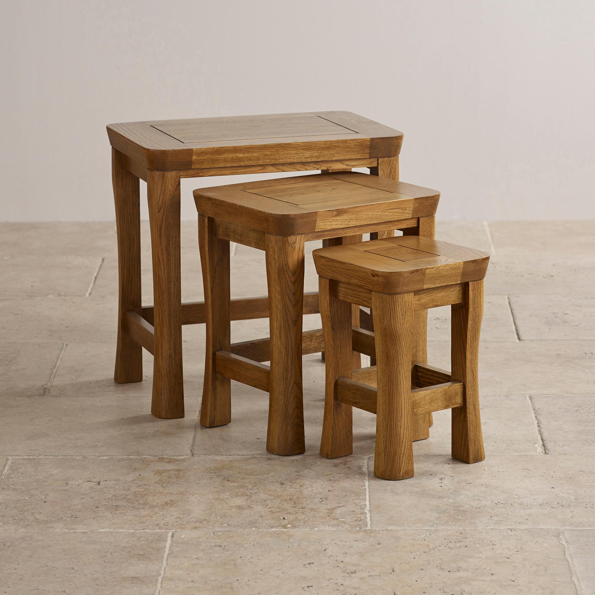 orrick nest of tables solid oak oak furniture land. Black Bedroom Furniture Sets. Home Design Ideas