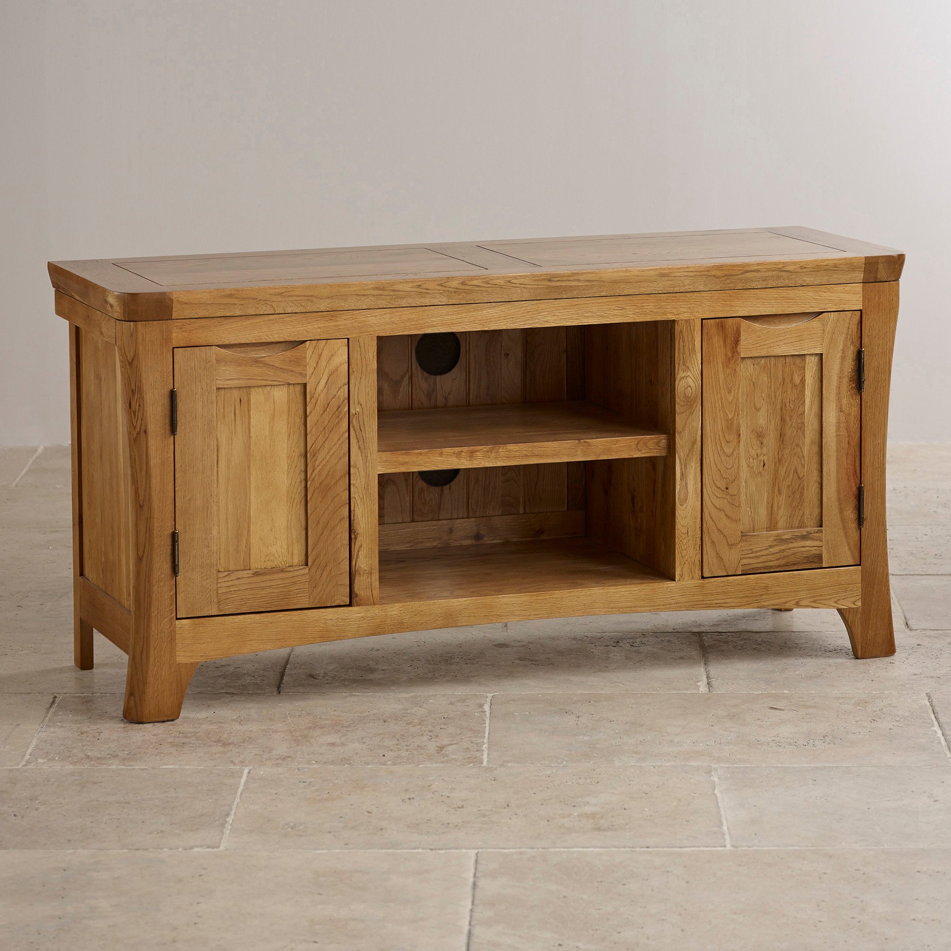 Orrick Wide TV Cabinet in Rustic Solid Oak | Oak Furniture Land