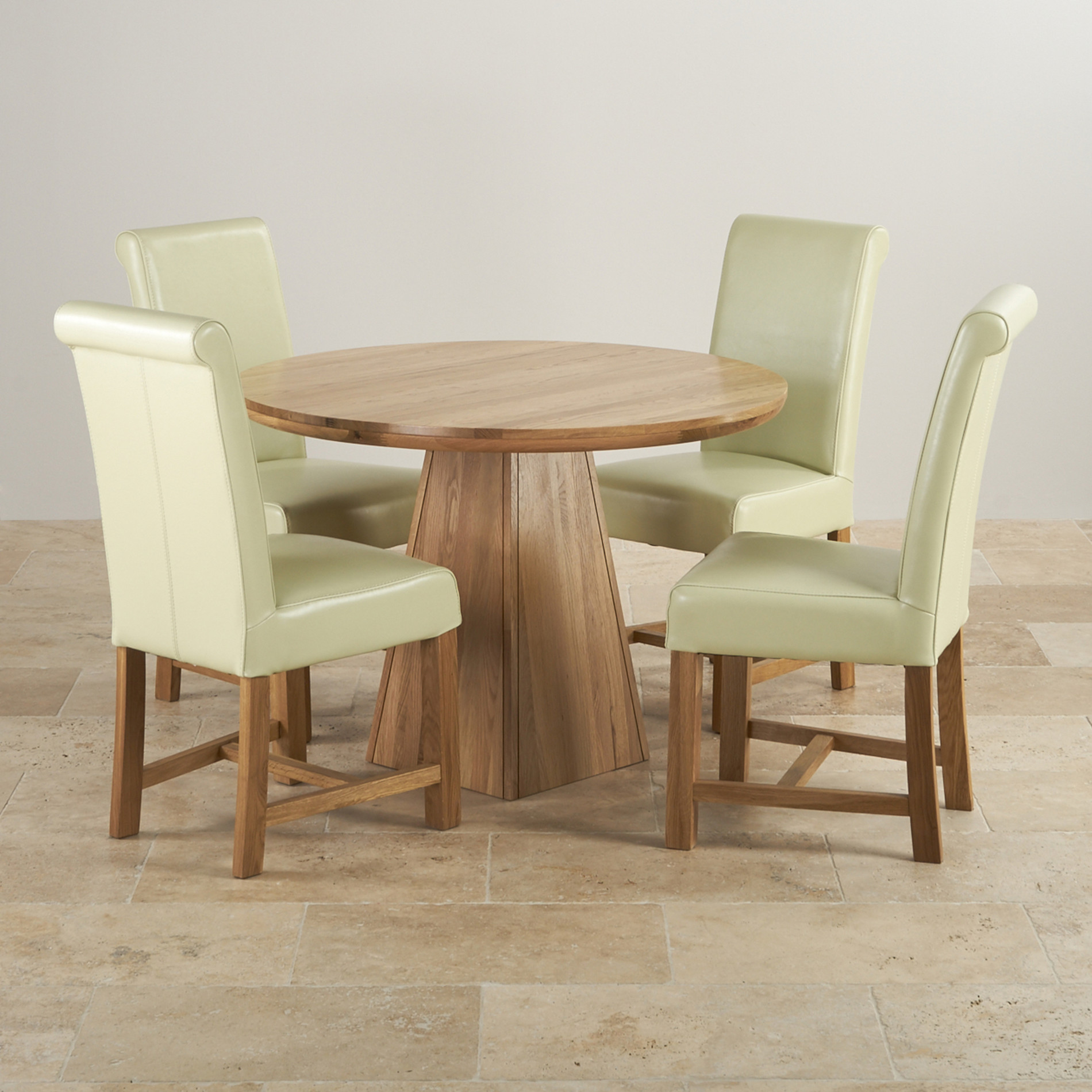 Cream Dining Set: Provence Dining Set In Real Oak: Table + 4 Leather Cream
