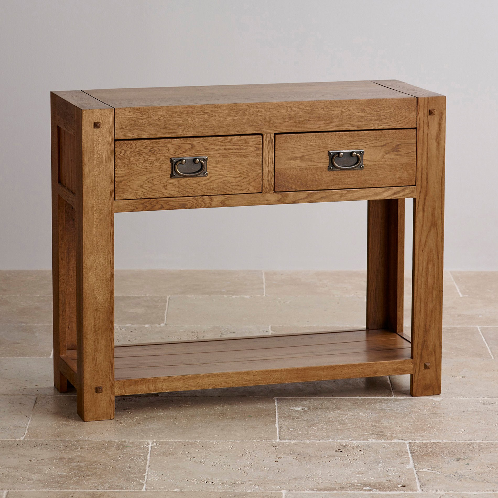 Quercus Console Table In Rustic Solid Oak Oak Furniture Land