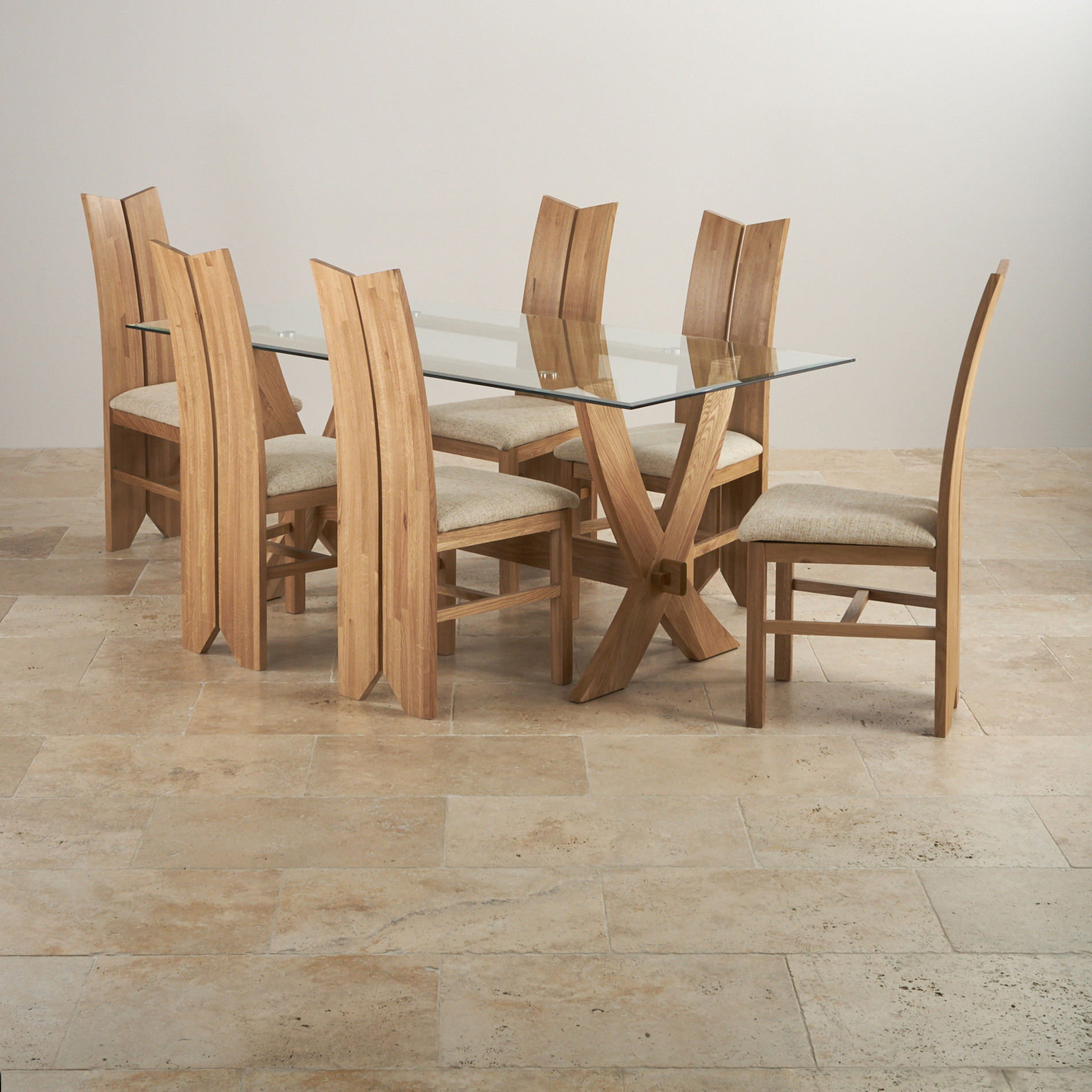 Solid Oak Dining Chairs: Reflection Dining Table In Natural Oak + 6 Tulip Beige Chairs