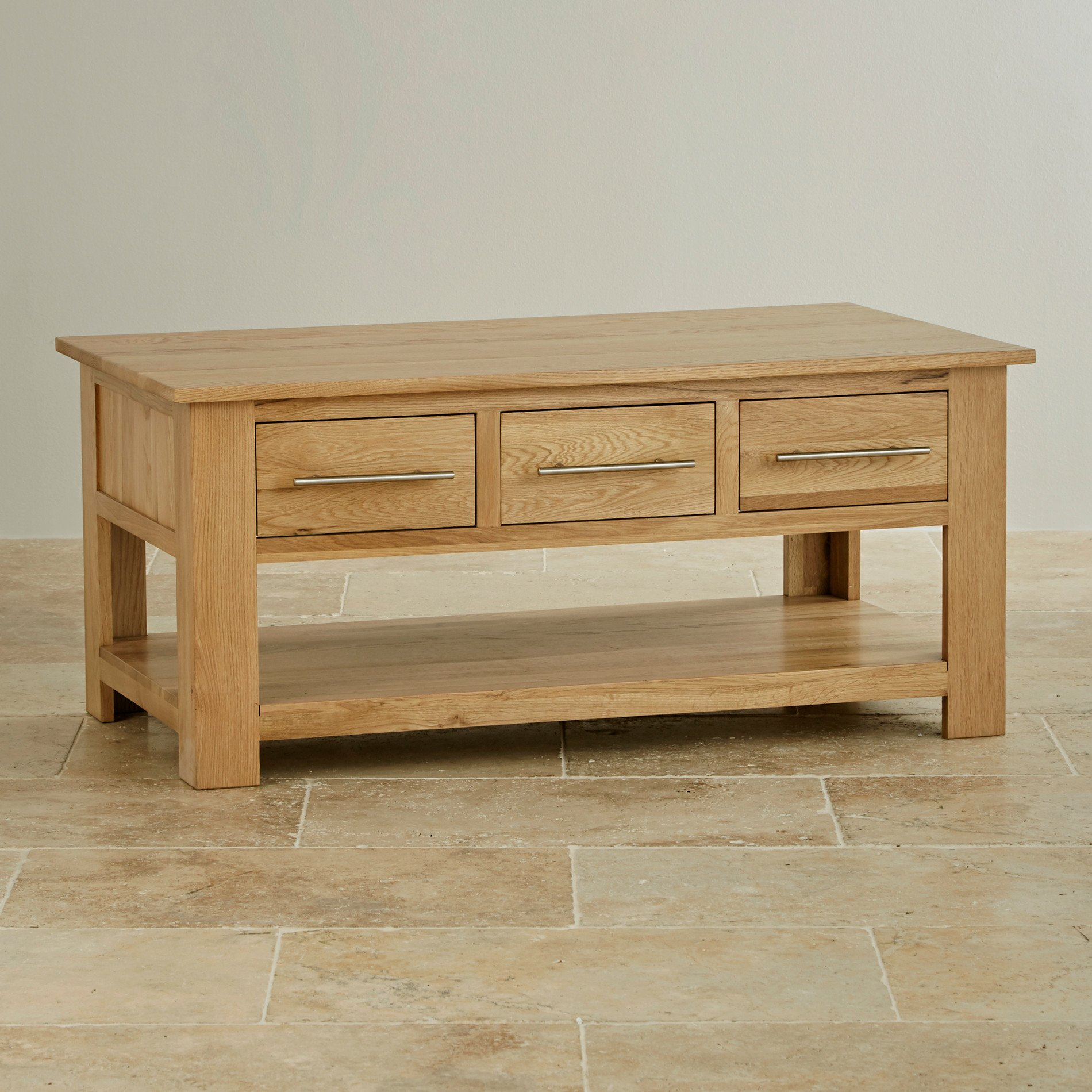 Coffee Table With Drawers: Rivermead 6 Drawer Coffee Table In Natural Solid Oak