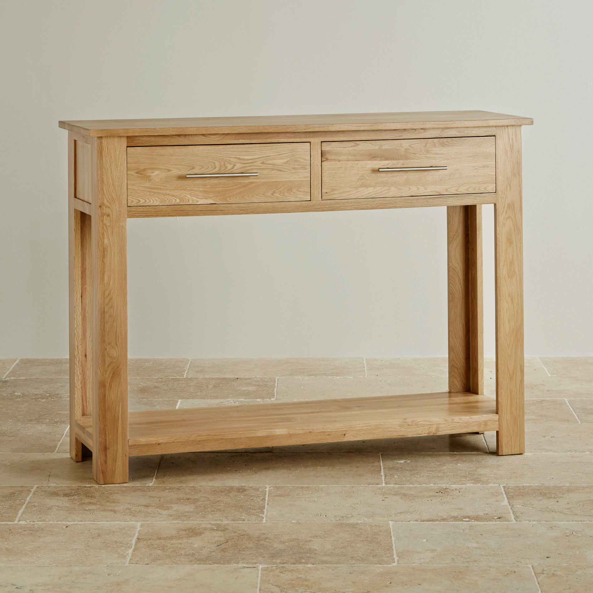 Console tables hallway tables youll love oak furniture land express delivery rivermead natural solid oak console table geotapseo Gallery