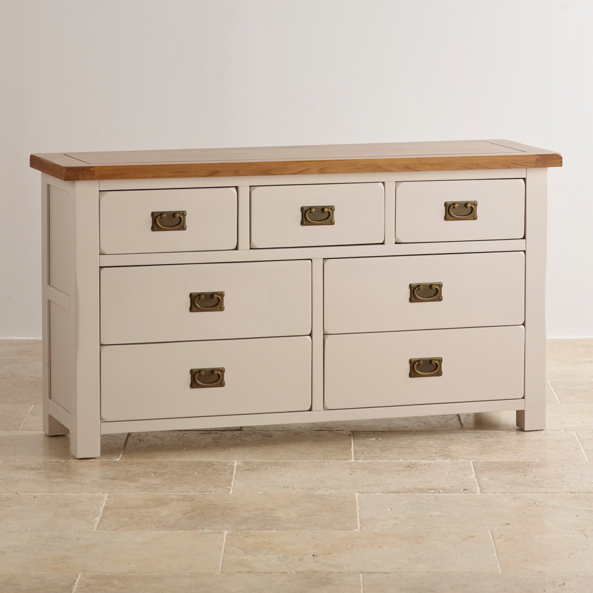 Kemble 3 4 Chest Of Drawers In Rustic Painted Solid Oak