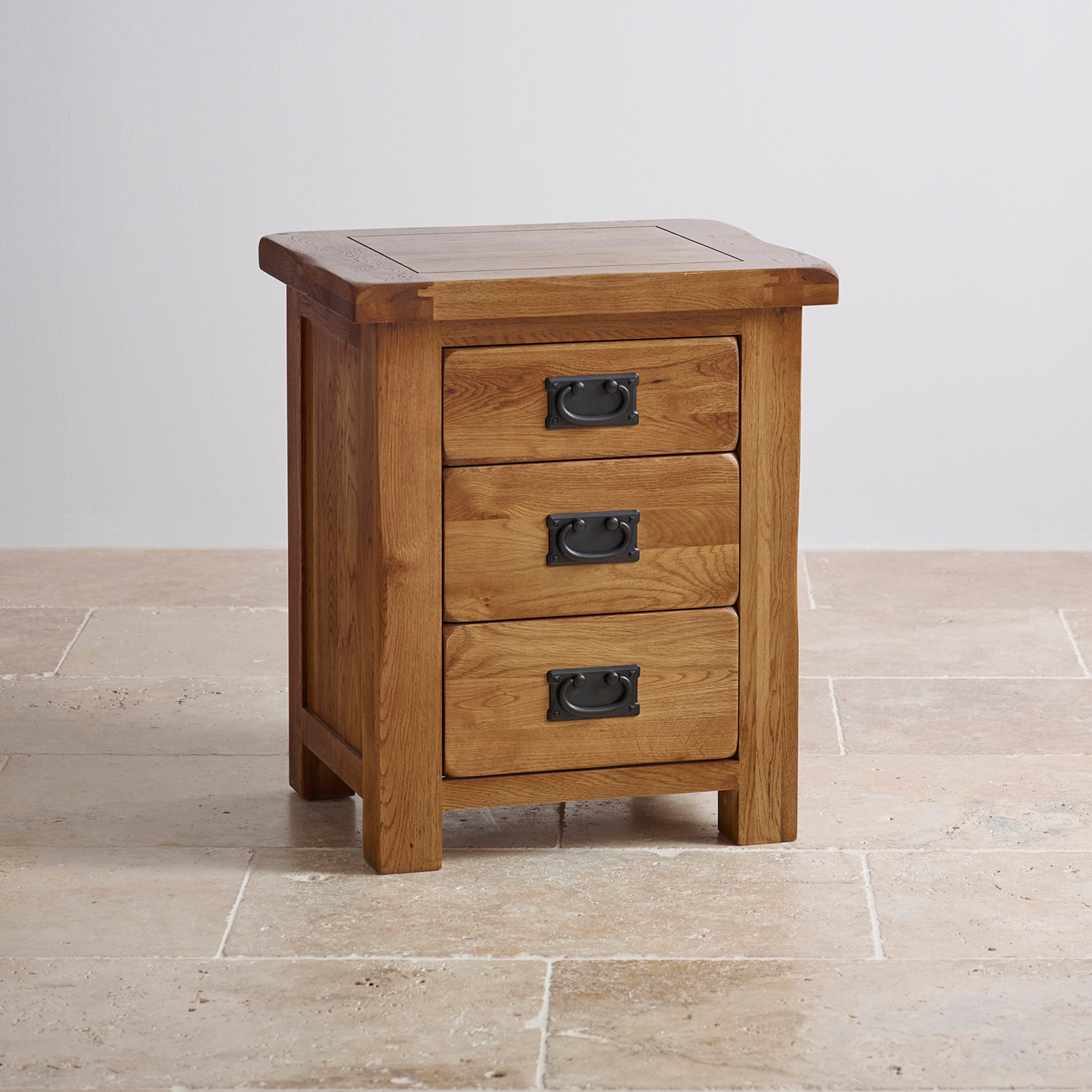 Original Rustic 3 Drawer Bedside Cabinet | Oak Furniture Land