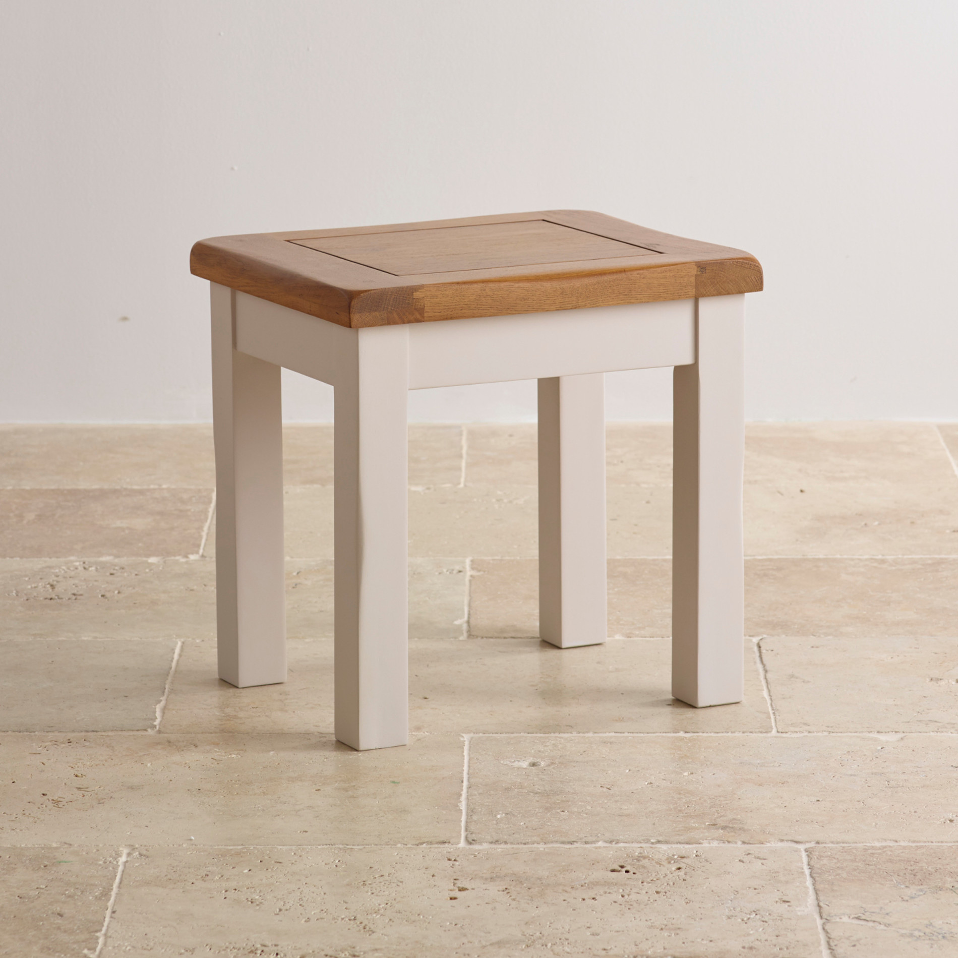 Kemble Dressing Table Stool In Painted Rustic Solid Oak