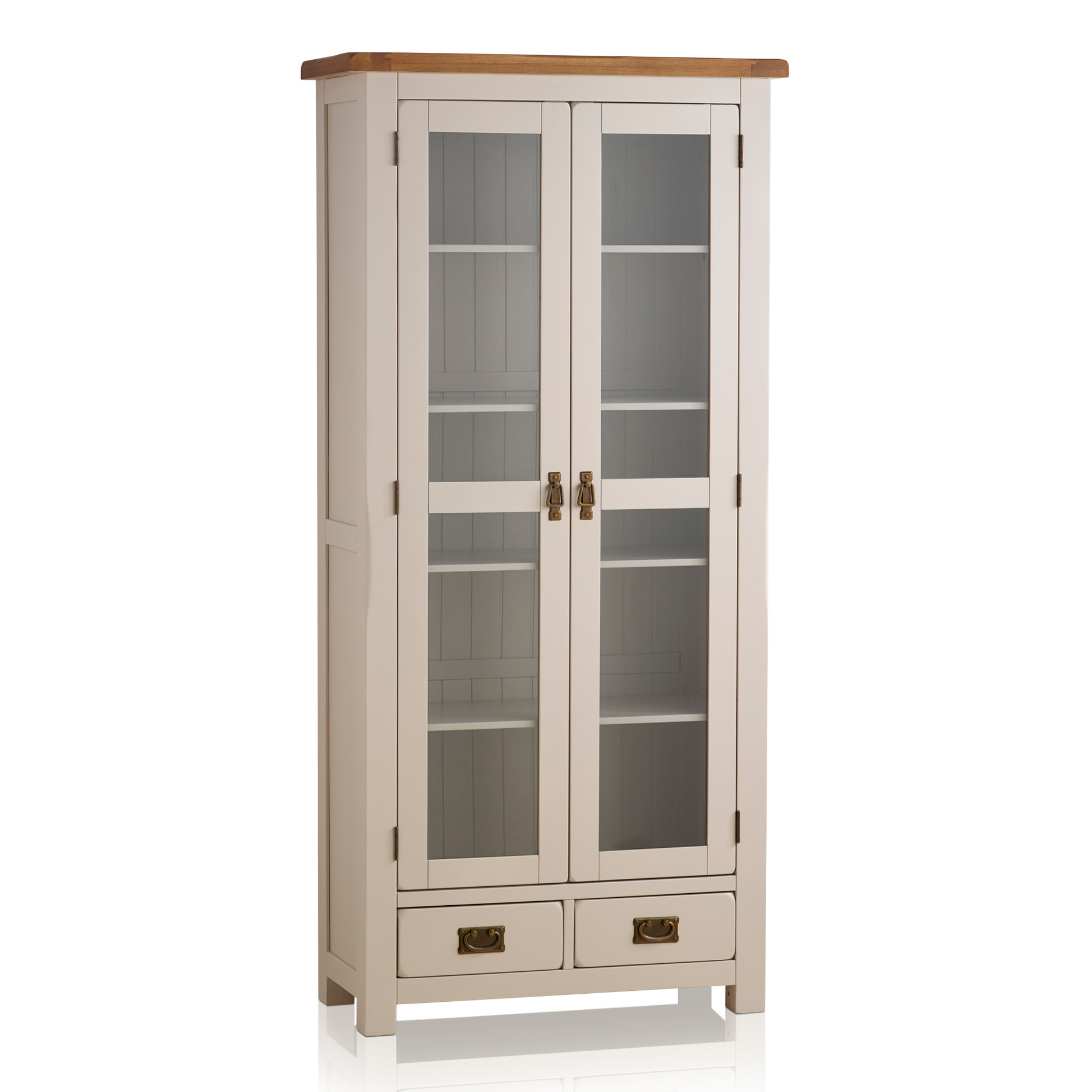 Kemble painted glazed display cabinet in rustic solid oak