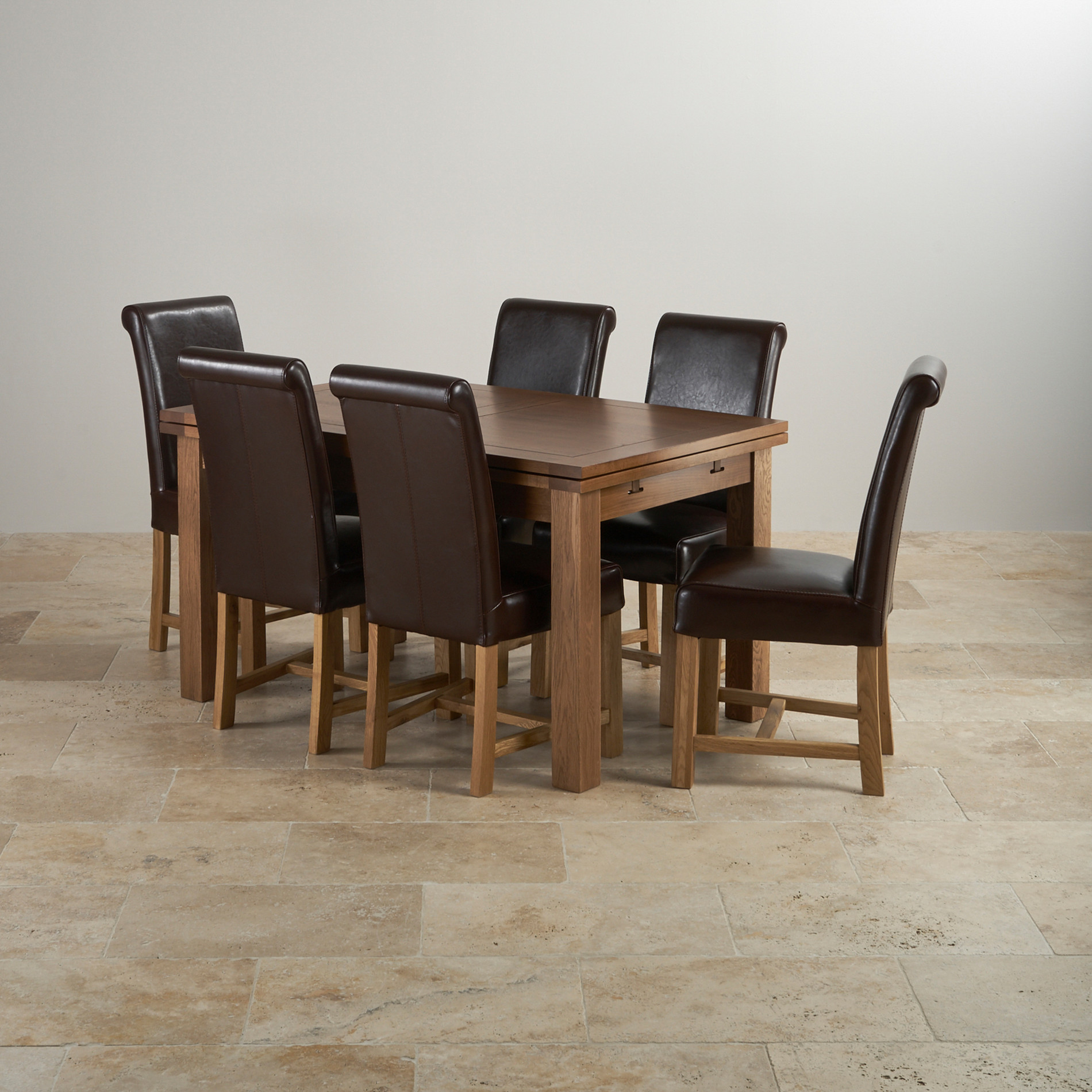 Rustic Oak Extending Dining Set 4ft 7 Quot Table 6 Leather