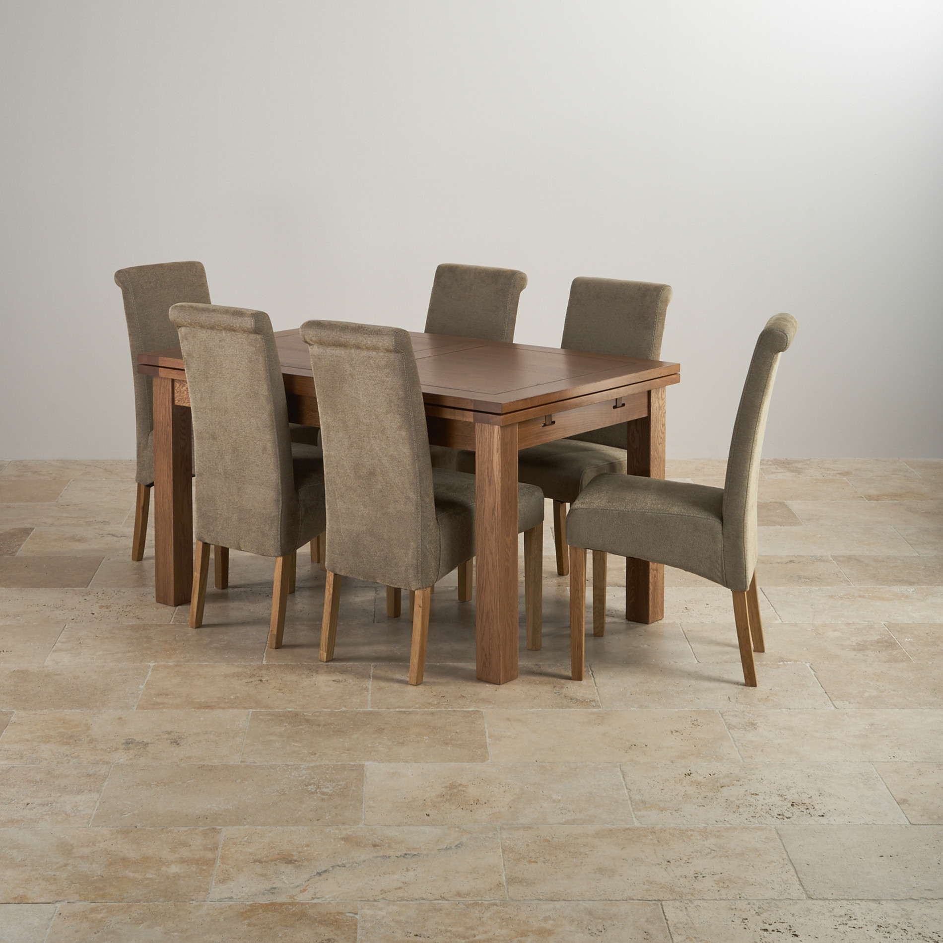 rustic oak 4ft 7 dining table with 6 sage chairs