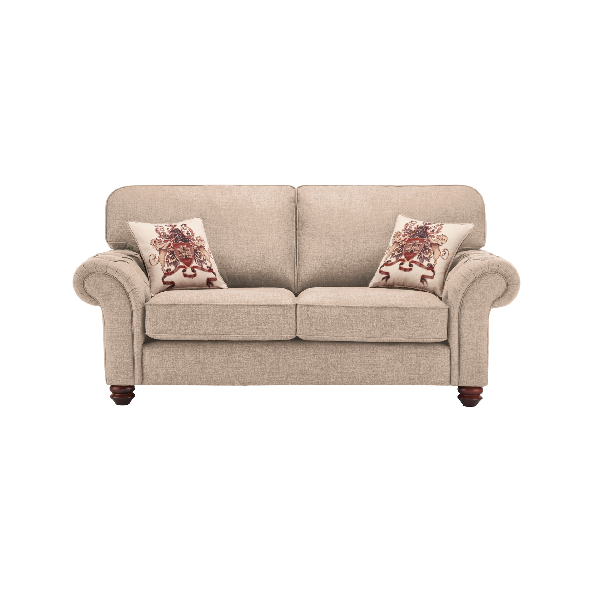 Sandringham 2 Seater High Back Sofa in Beige Beige Scatter