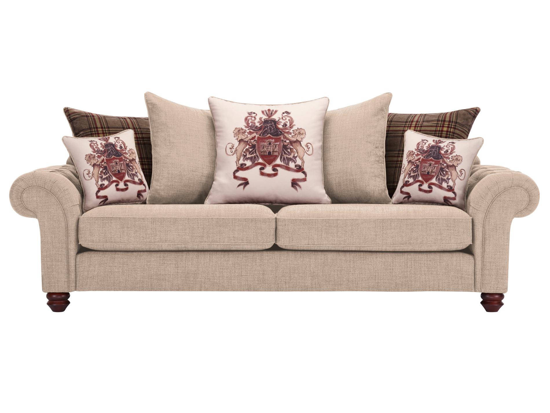 sandringham 4 seater pillow back sofa in beige with brown scatters. Black Bedroom Furniture Sets. Home Design Ideas