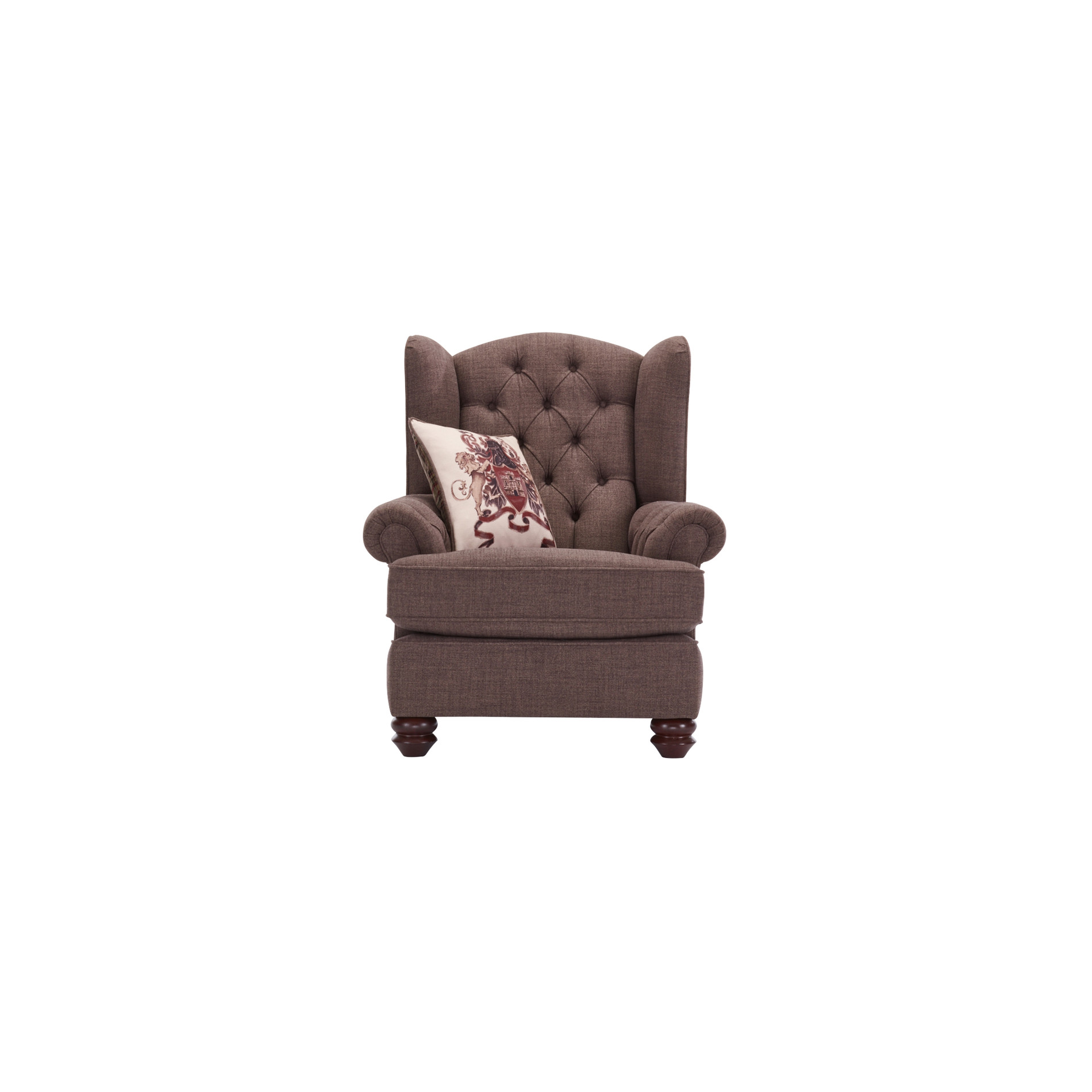 Sandringham Wing Chair in Brown Beige Scatter