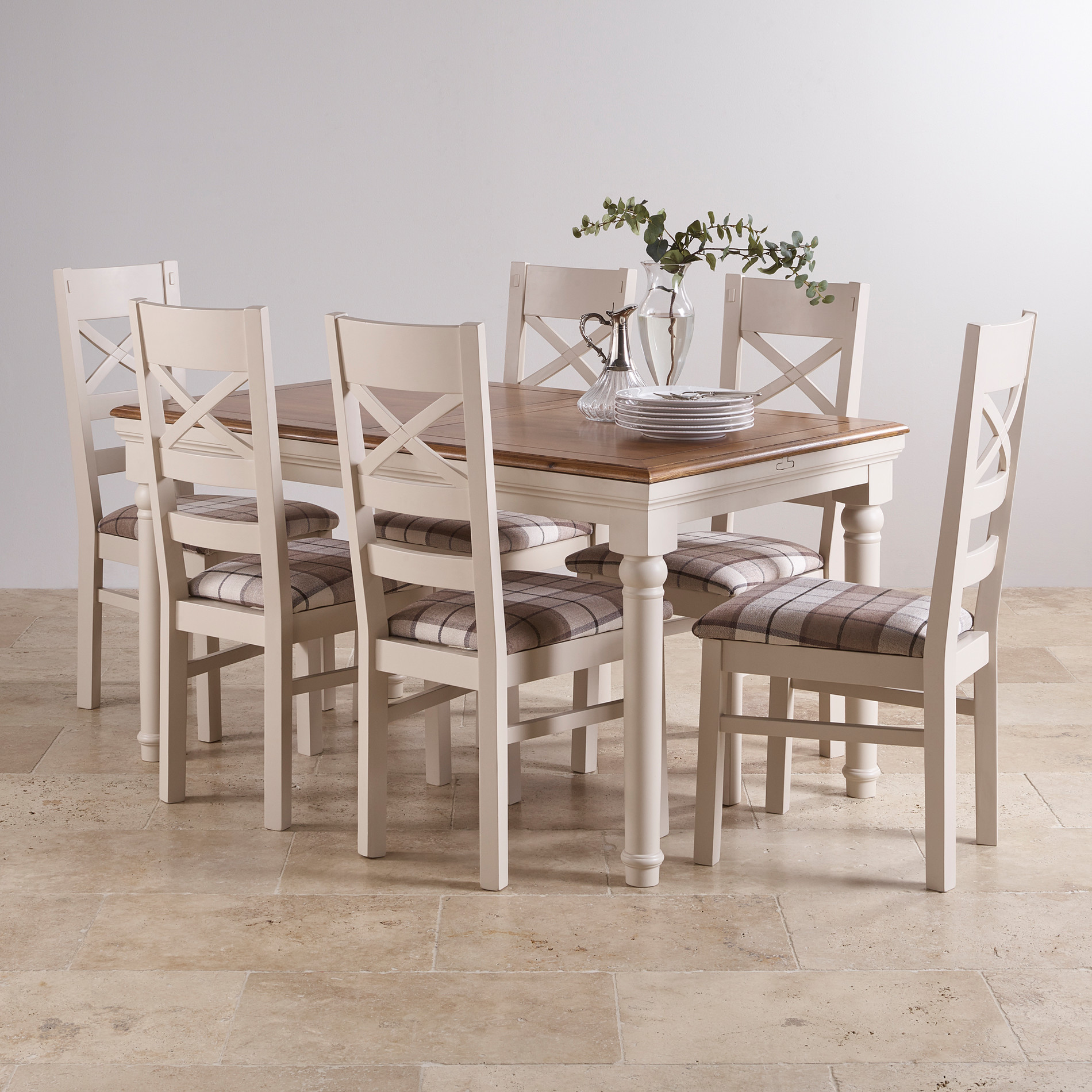 Shay Rustic Oak And Painted Dining Set   5ft Extending Table U0026 6 Shay Brown  Check Part 86