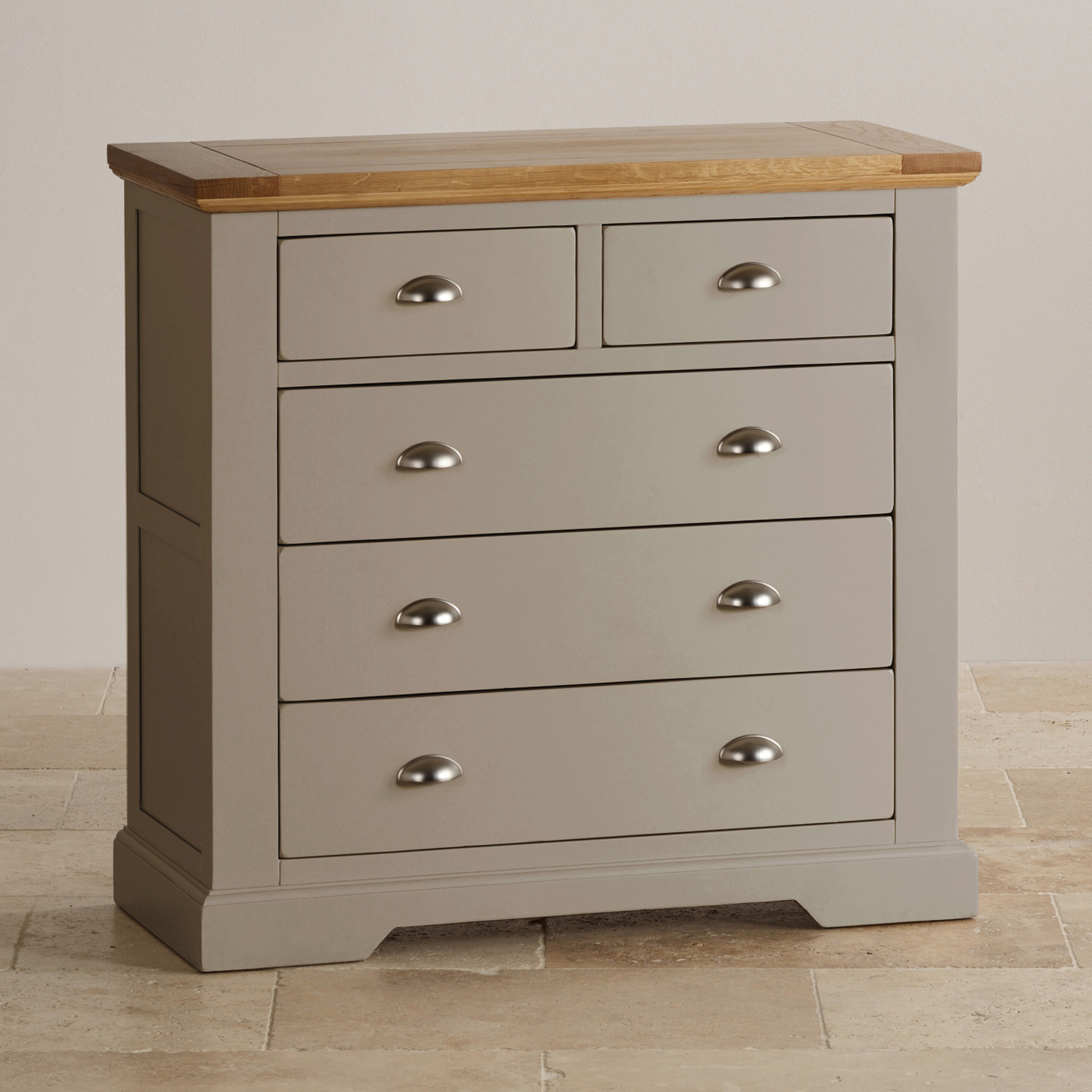 grey painted furnitureNatural oak and light grey painted 23 chest of drawers