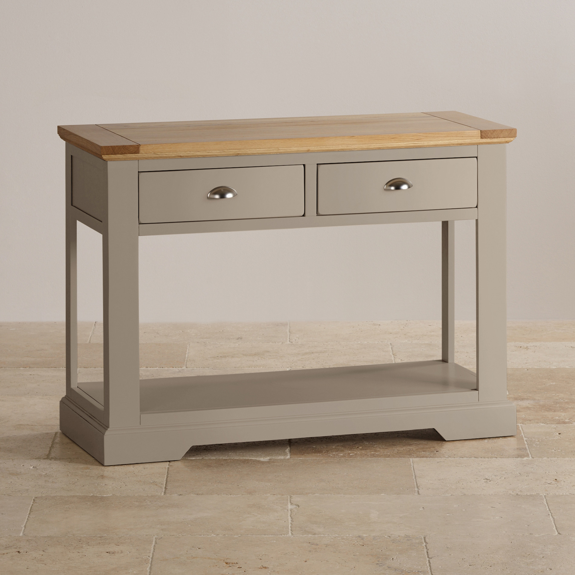 Natural Oak And Light Grey Painted Console Table