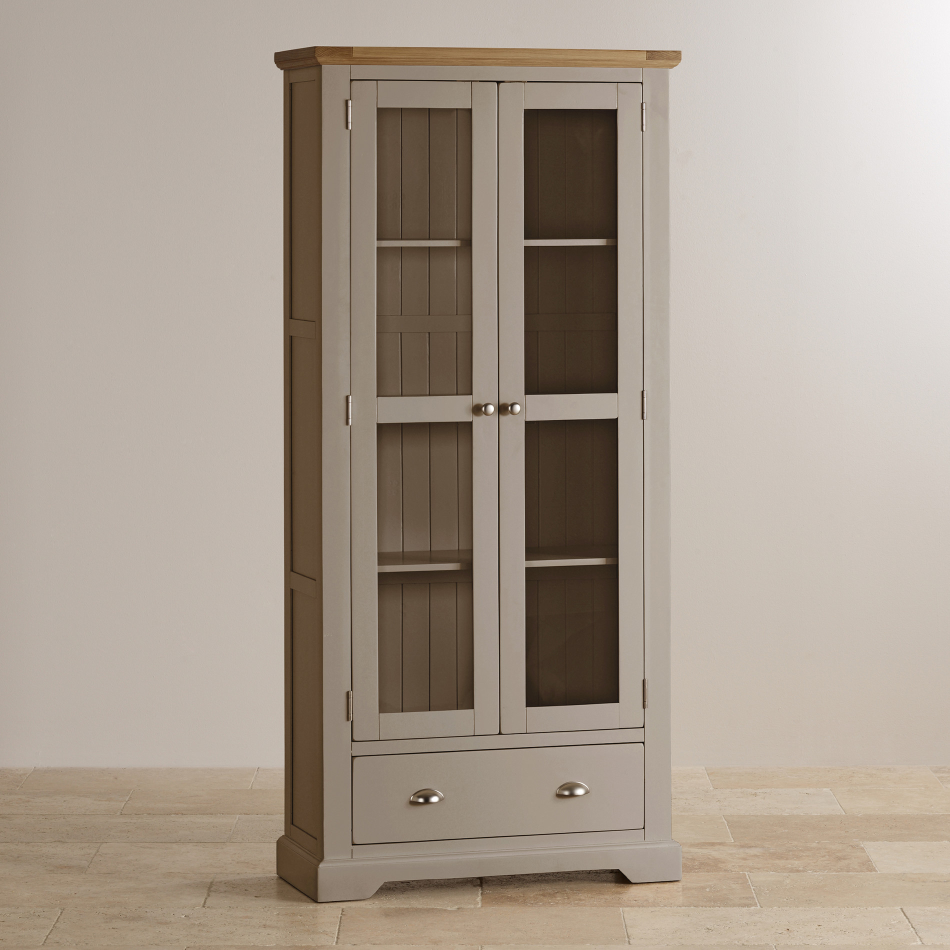 St Ives Display Cabinet In Light Grey Painted Natural Oak