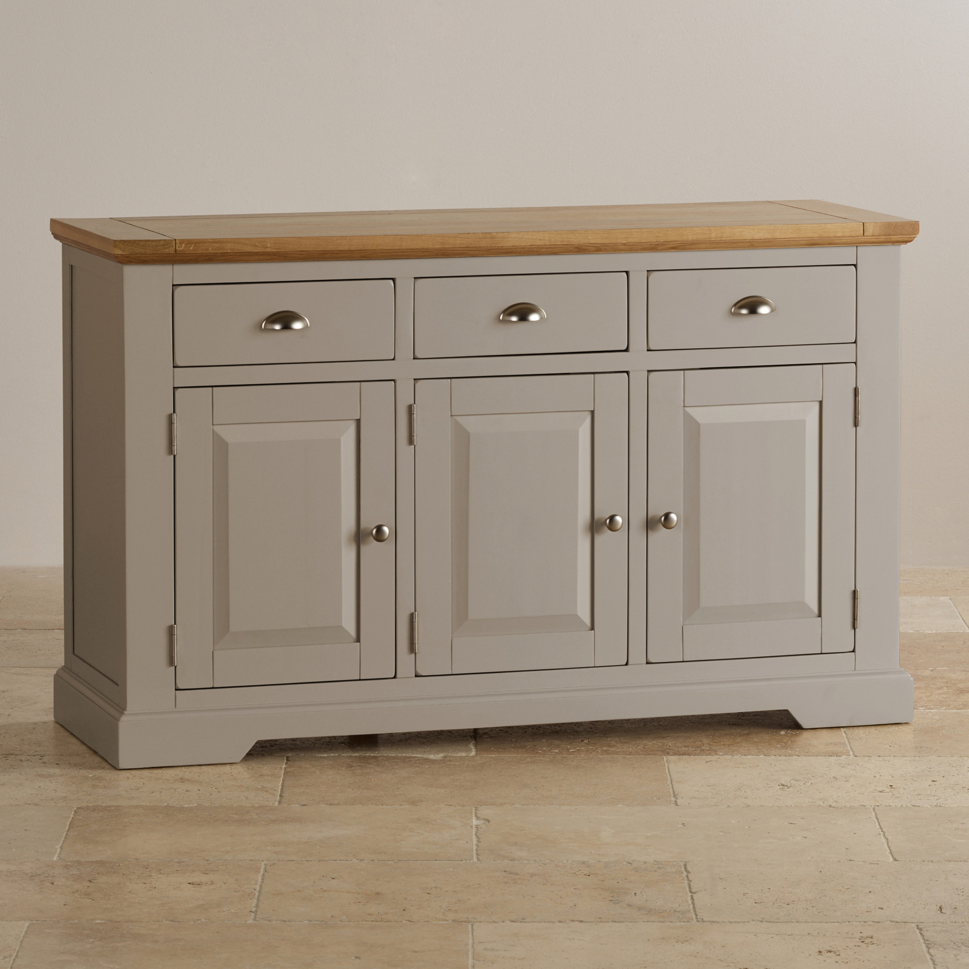 St Ives Large Grey Sideboard In Solid Hardwood Brushed