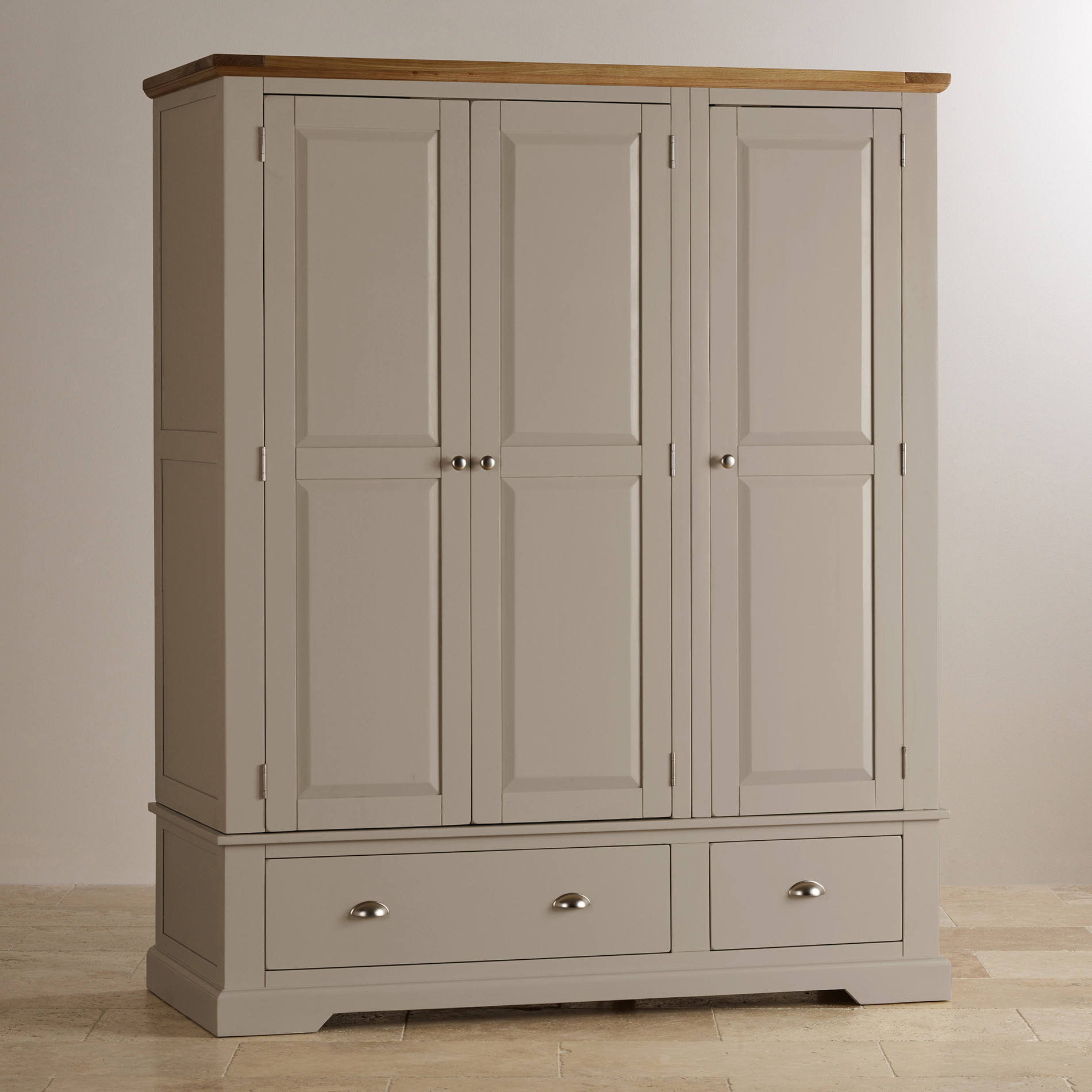 St Ives Grey Painted Triple Wardrobe In Natural Oak