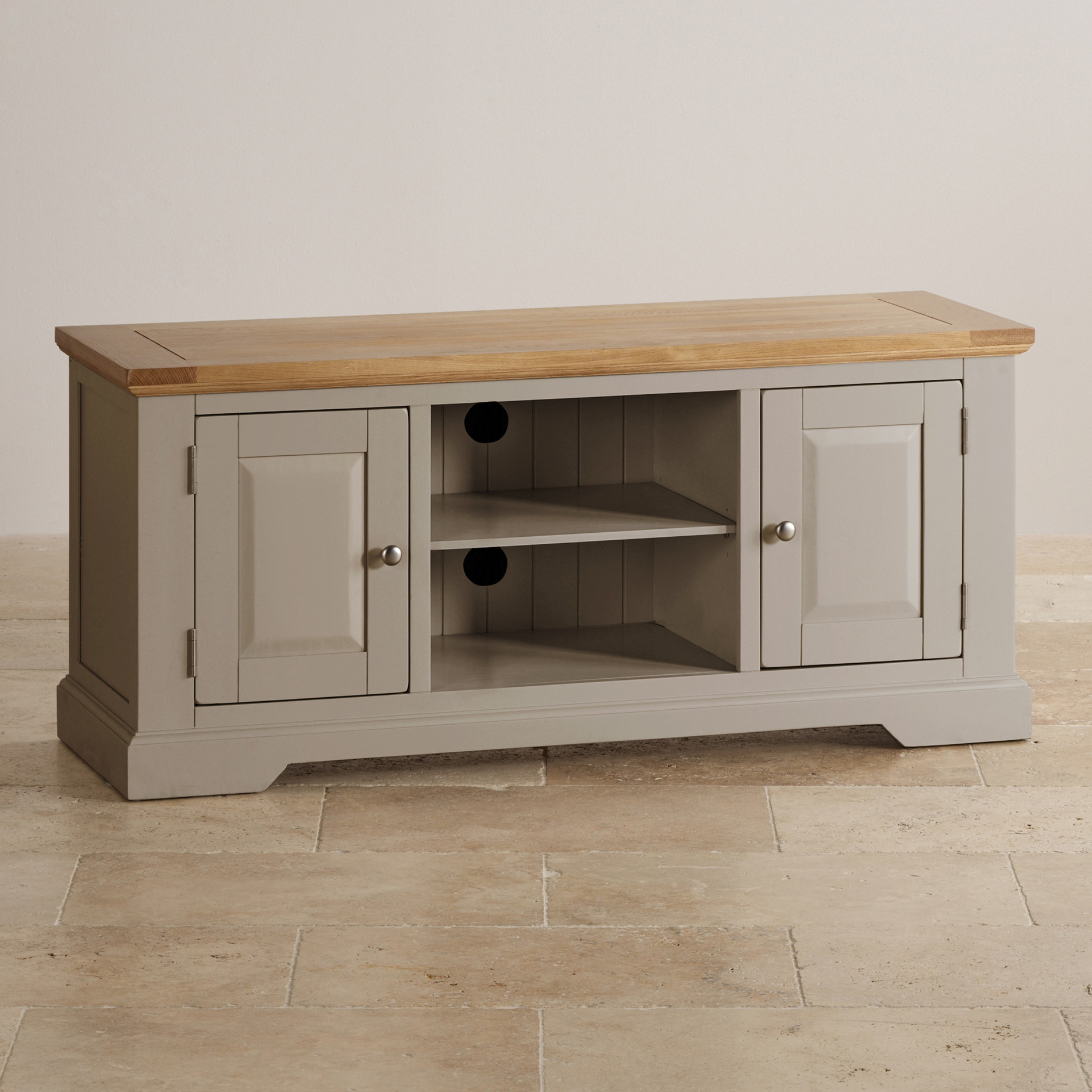 Natural oak and light grey painted TV cabinet