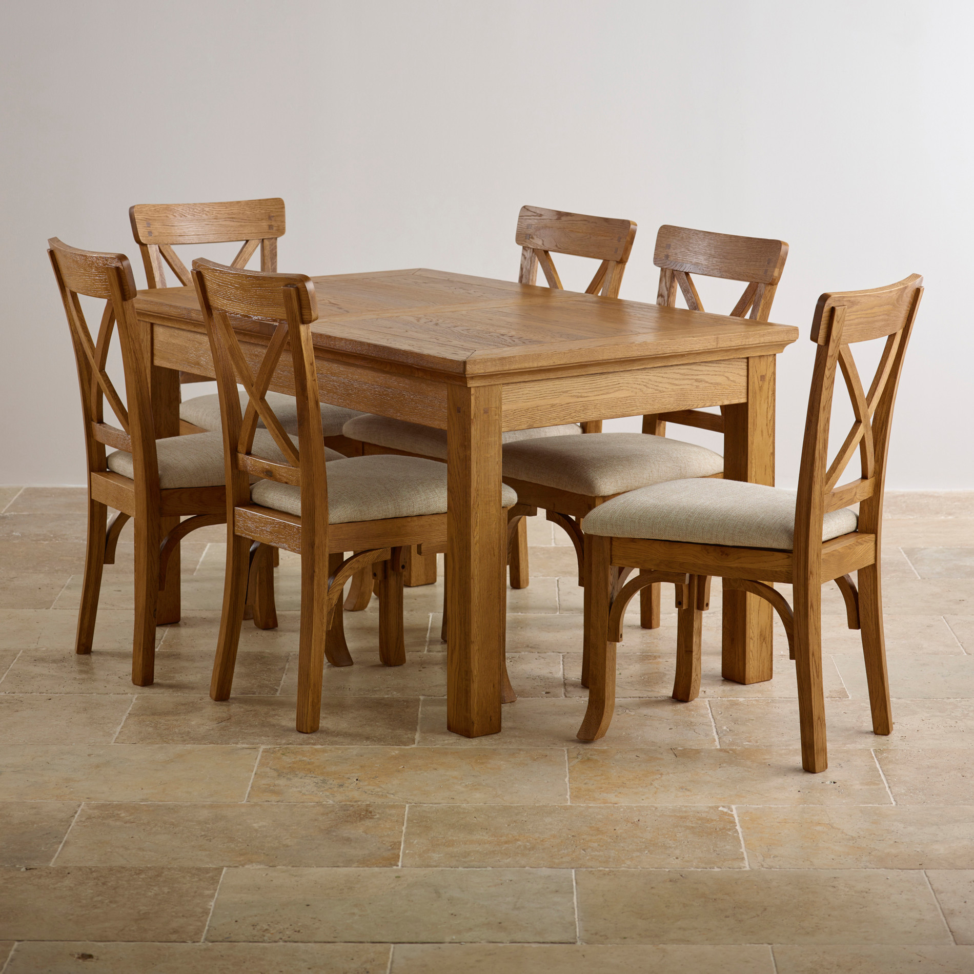 taunton dining set extending dining table in rustic oak 6 chairs. Black Bedroom Furniture Sets. Home Design Ideas