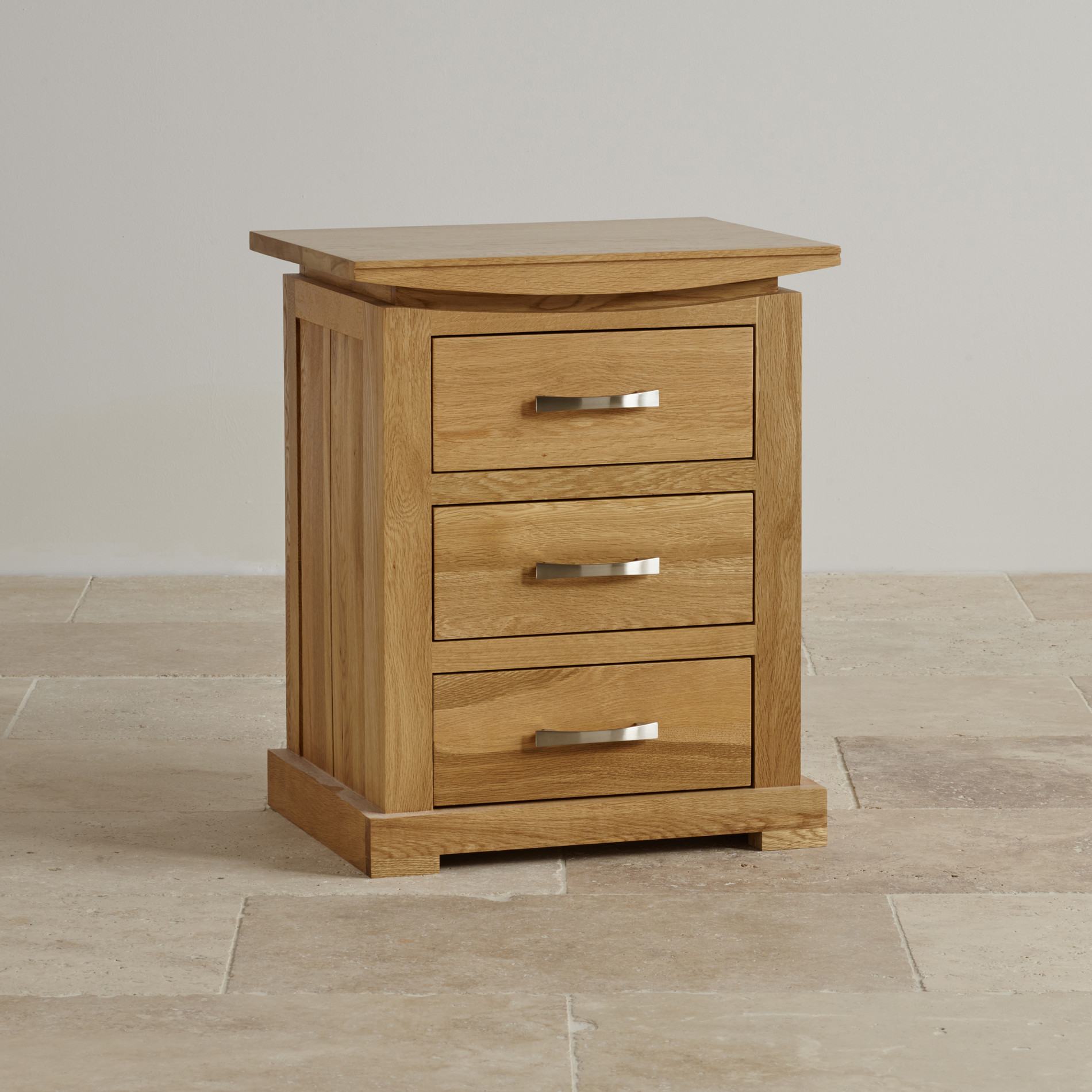 Tokyo 3 drawer bedside table in solid oak oak furniture land for Bedroom table chairs