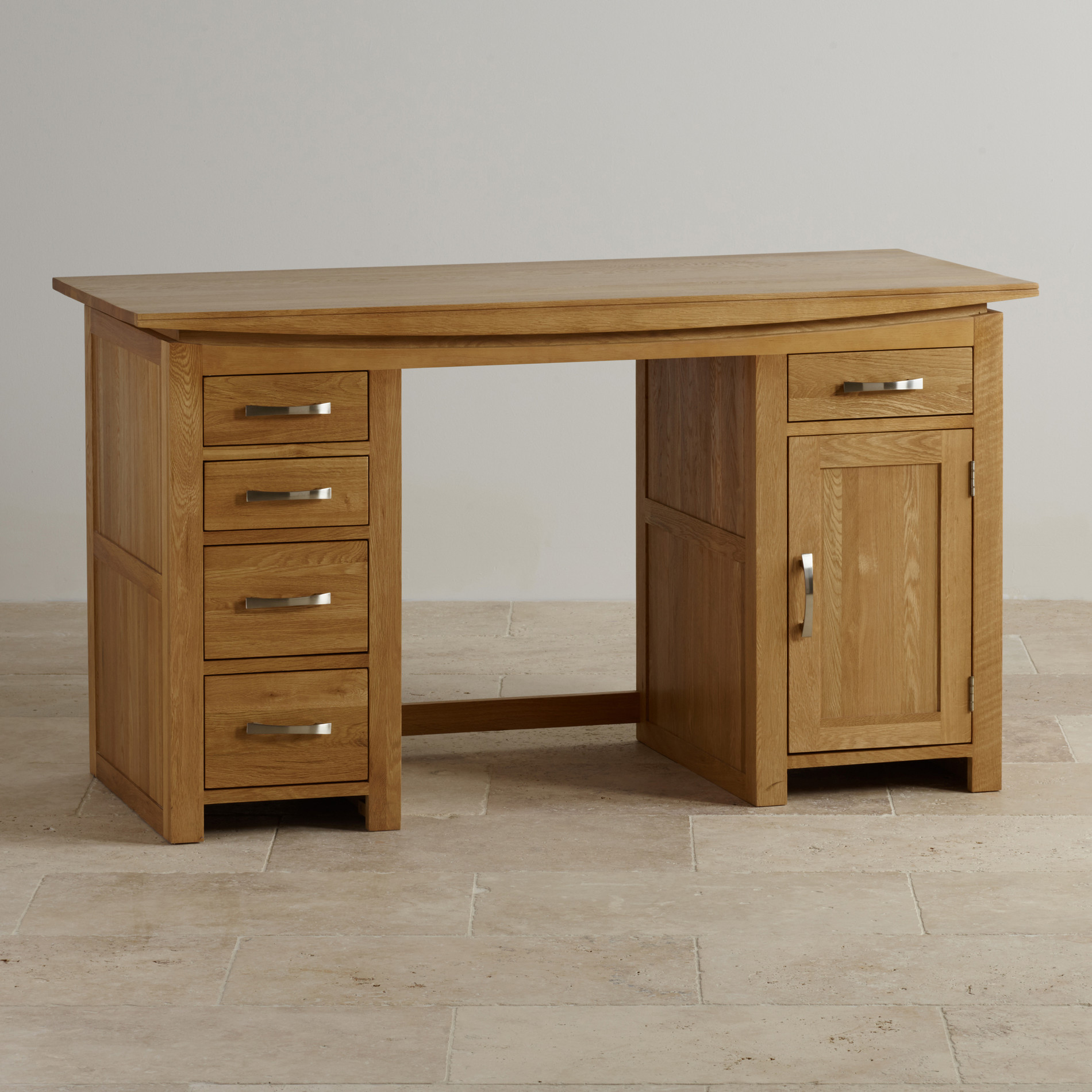 Tokyo natural solid oak computer desk by oak furniture land for Solid oak furniture