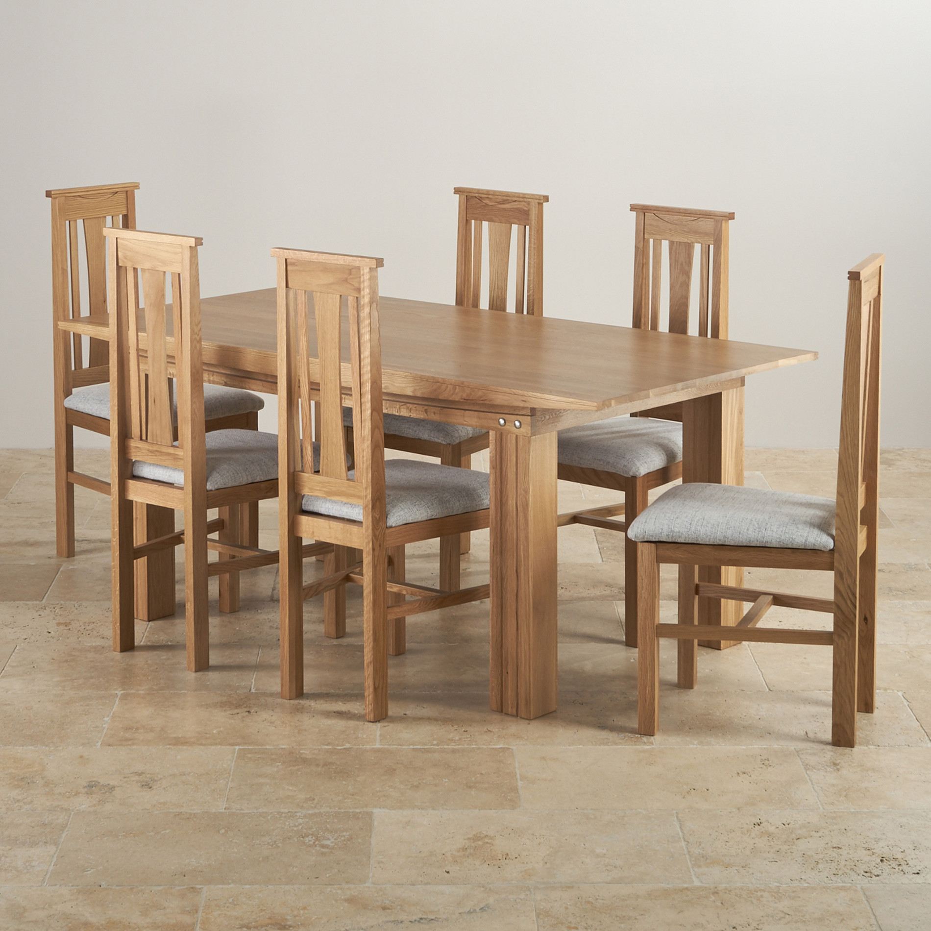 Tokyo dining set in oak 6ft dining table 6 grey fabric for Six chair dining table set